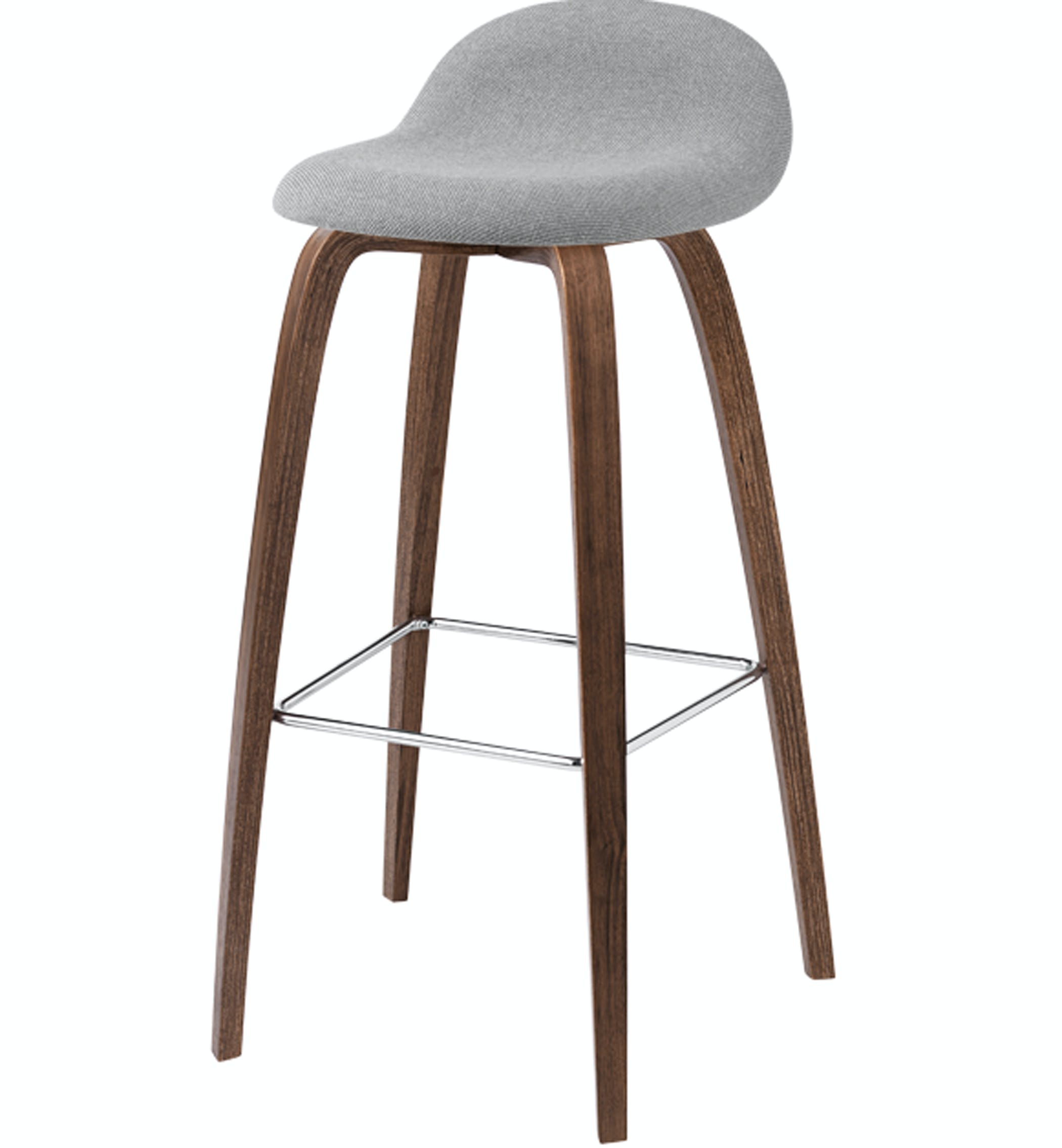 Gubi Chair Stool Fully Upholsted Grey Walnut Base Front Product