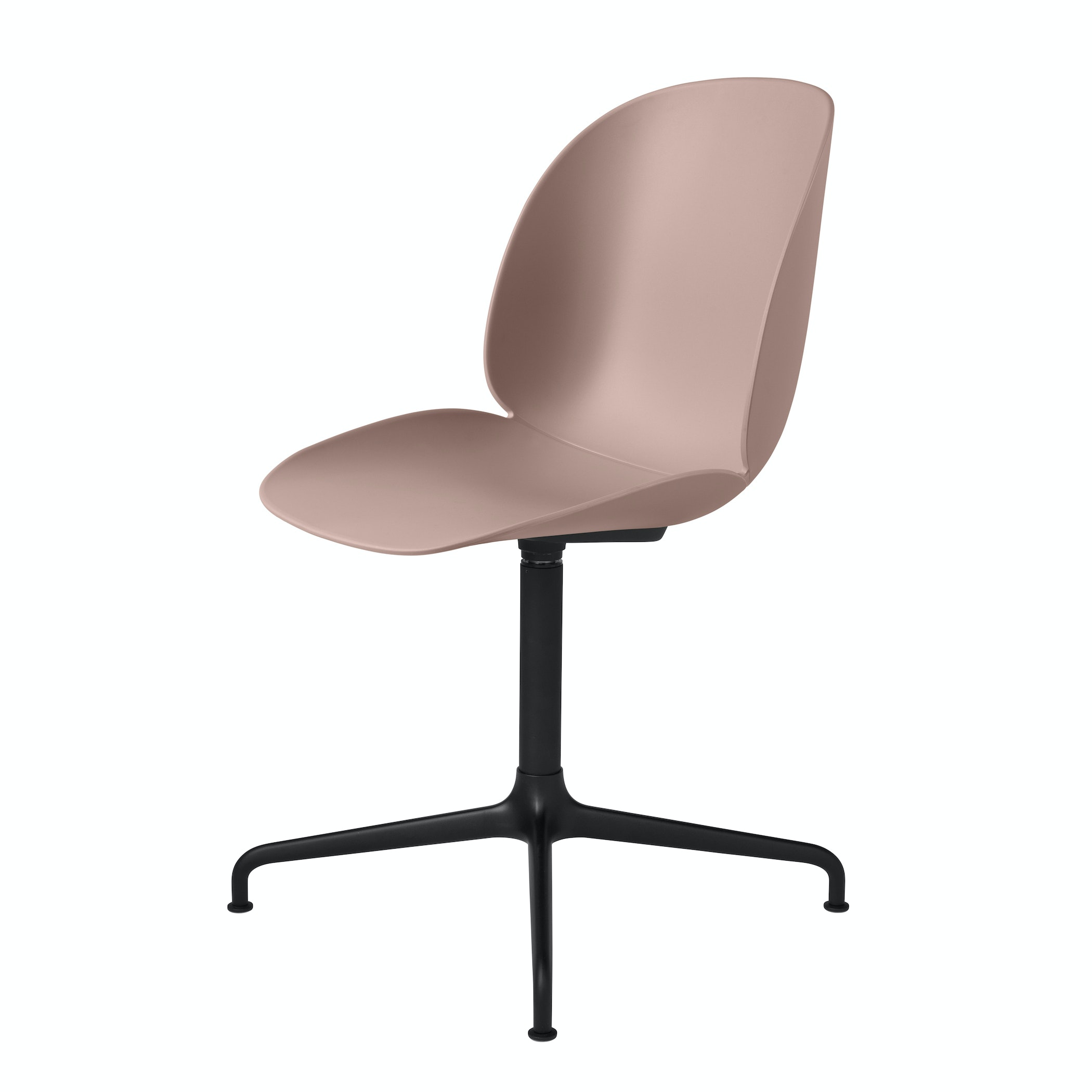 Beetle Dining Chair Casted Swivel Unupholstered Black Sweet Pink