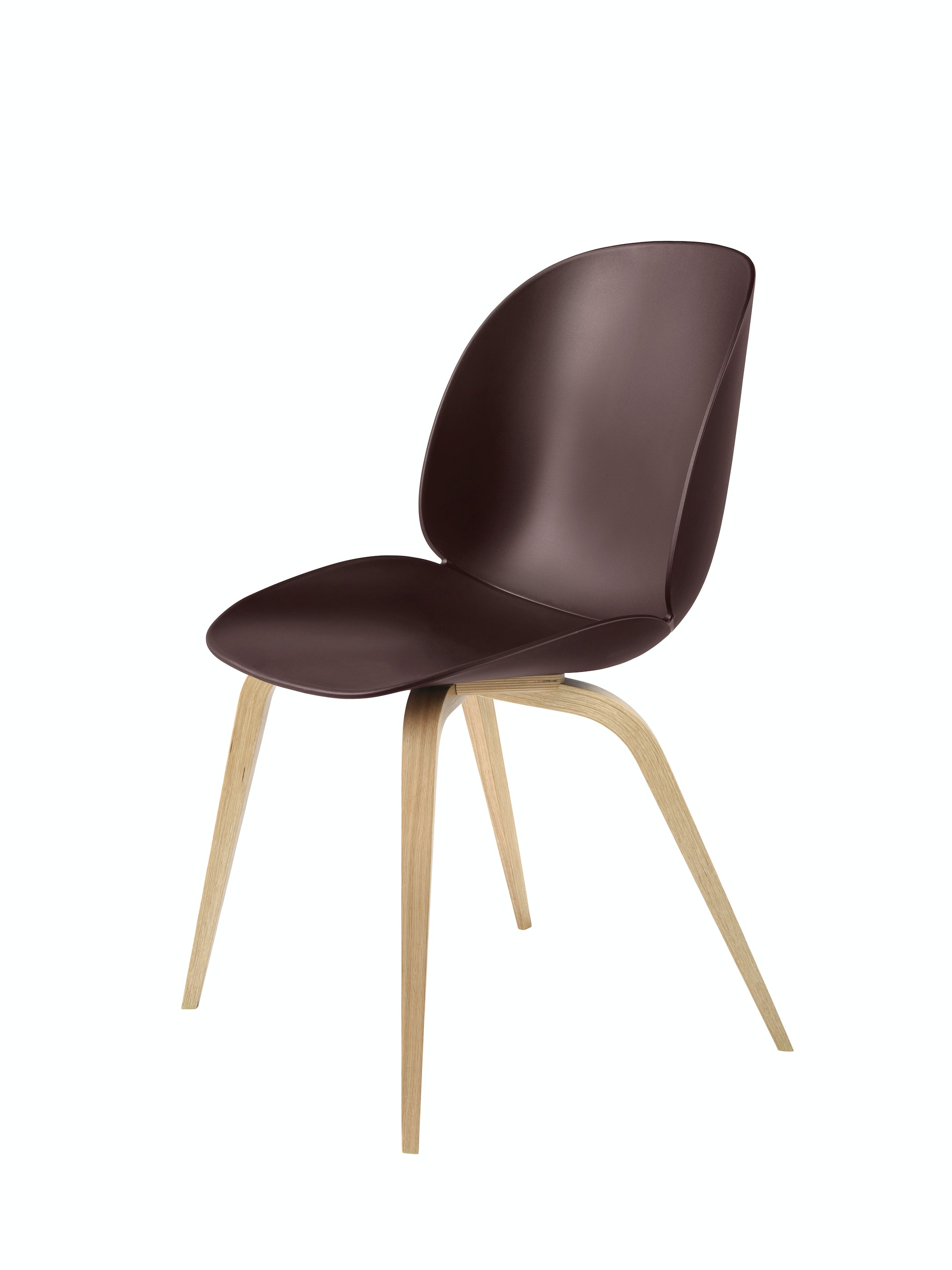 Beetle Dining Chair Wood Unupholstered Oak Dark Pink Front