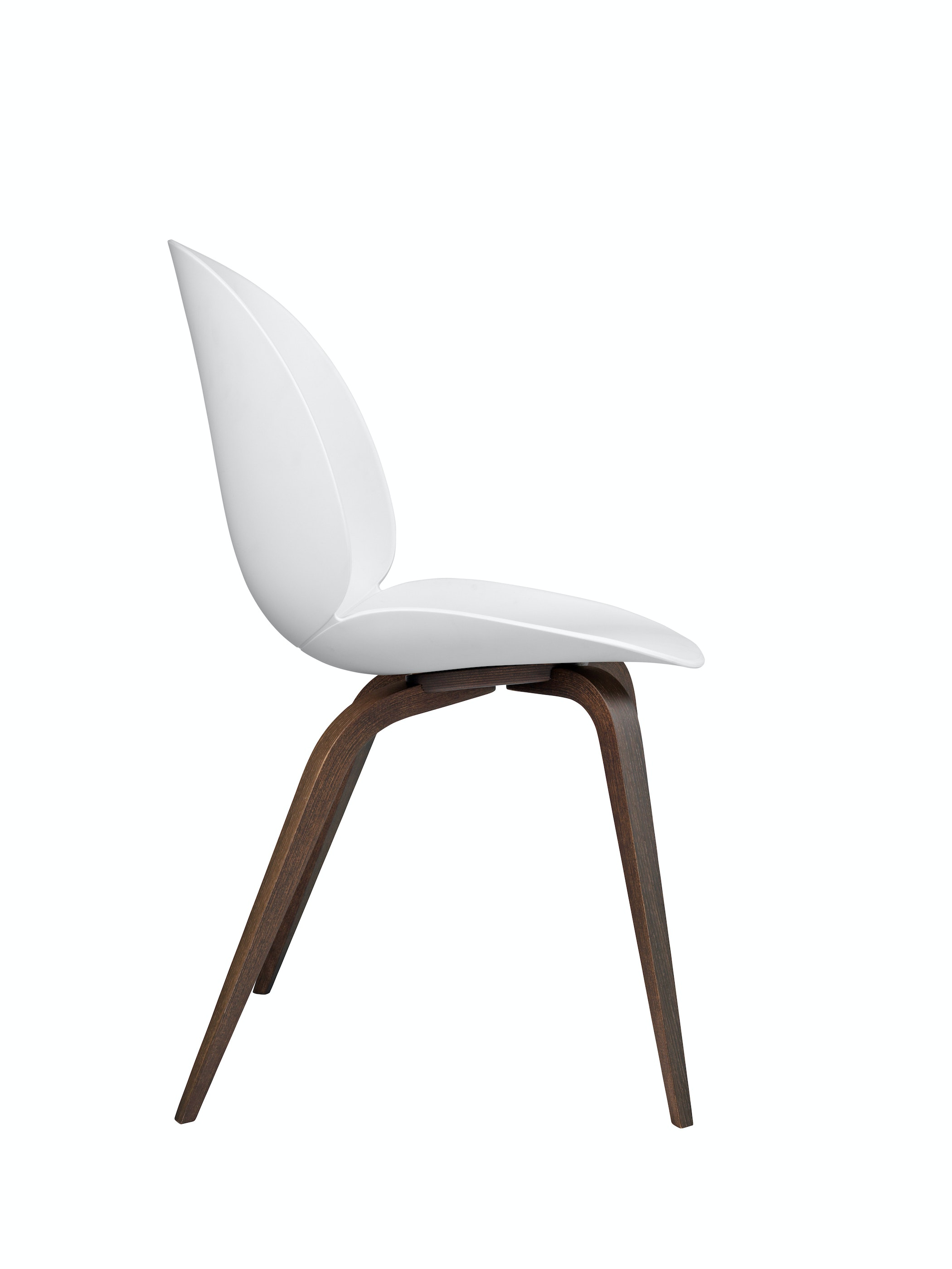 Beetle Dining Chair Wood Unupholstered Smoked Oak White Side