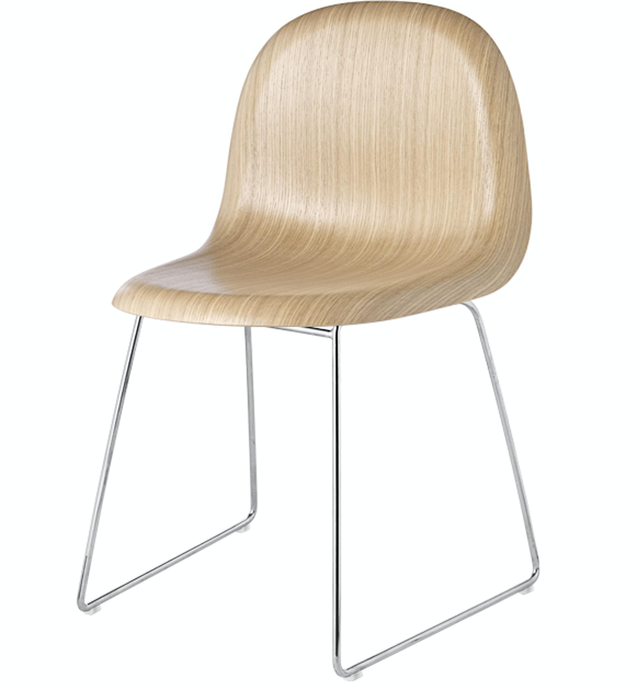 Gubi Chair Oak Shell Crome Sledge Base Front Product