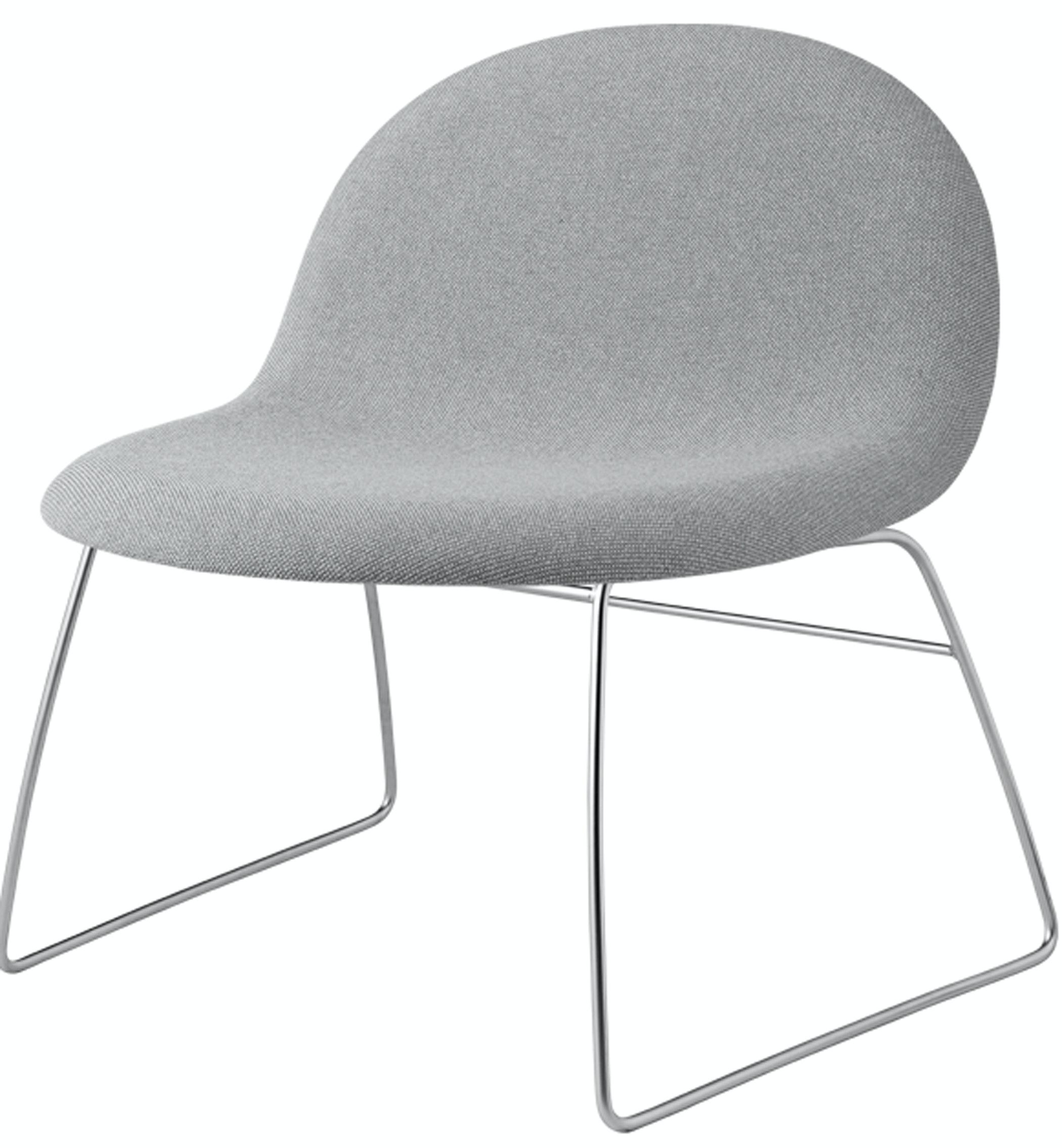 Gubi Lounge Fully Upholstred Grey Satin Crome Base Front Product