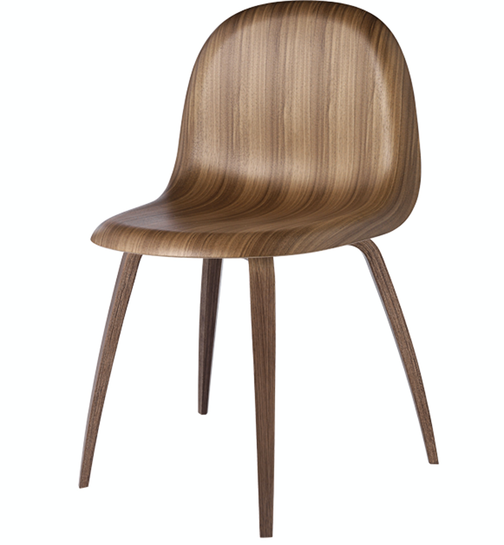 Gubi Chair Walnut Shell Walnut Base Front Product