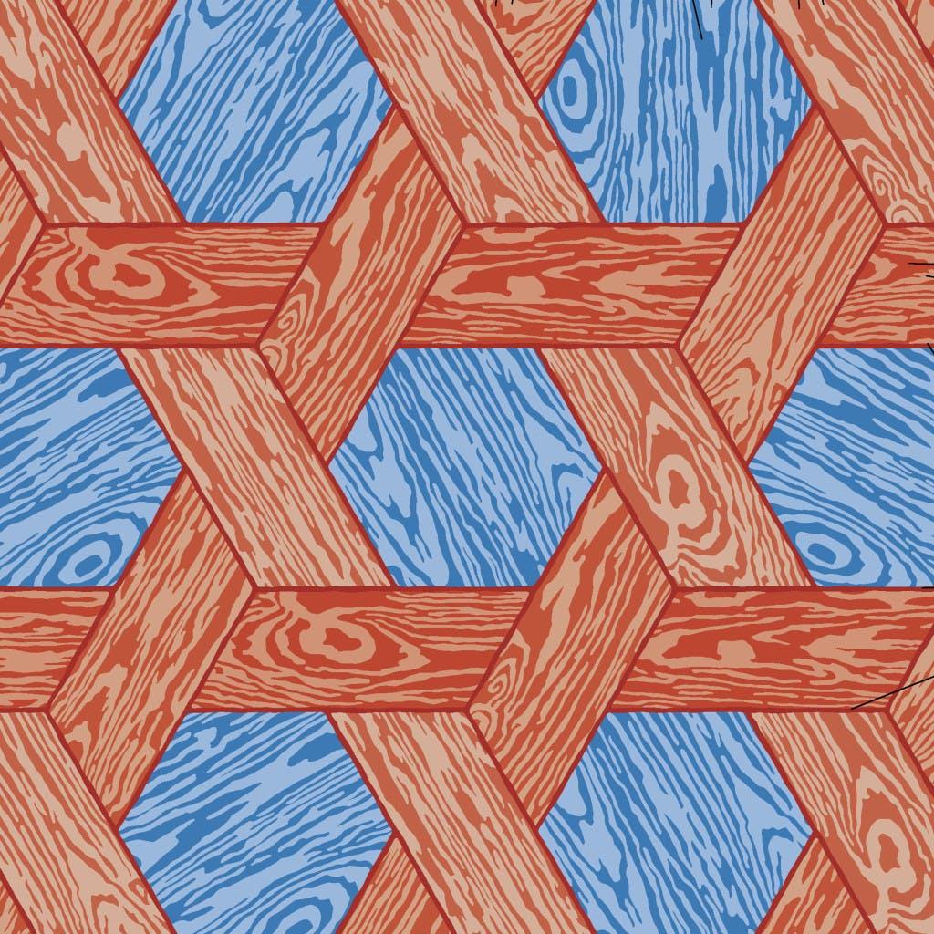Moooi Carpets Hexagon Red Blue Detail Haute Living