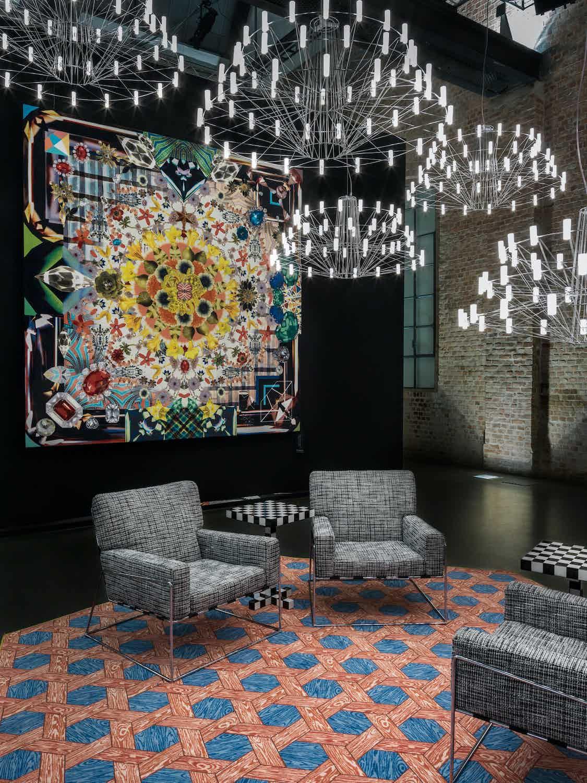 Moooi Carpets Hexagon Red Blue Insitu2 Haute Living