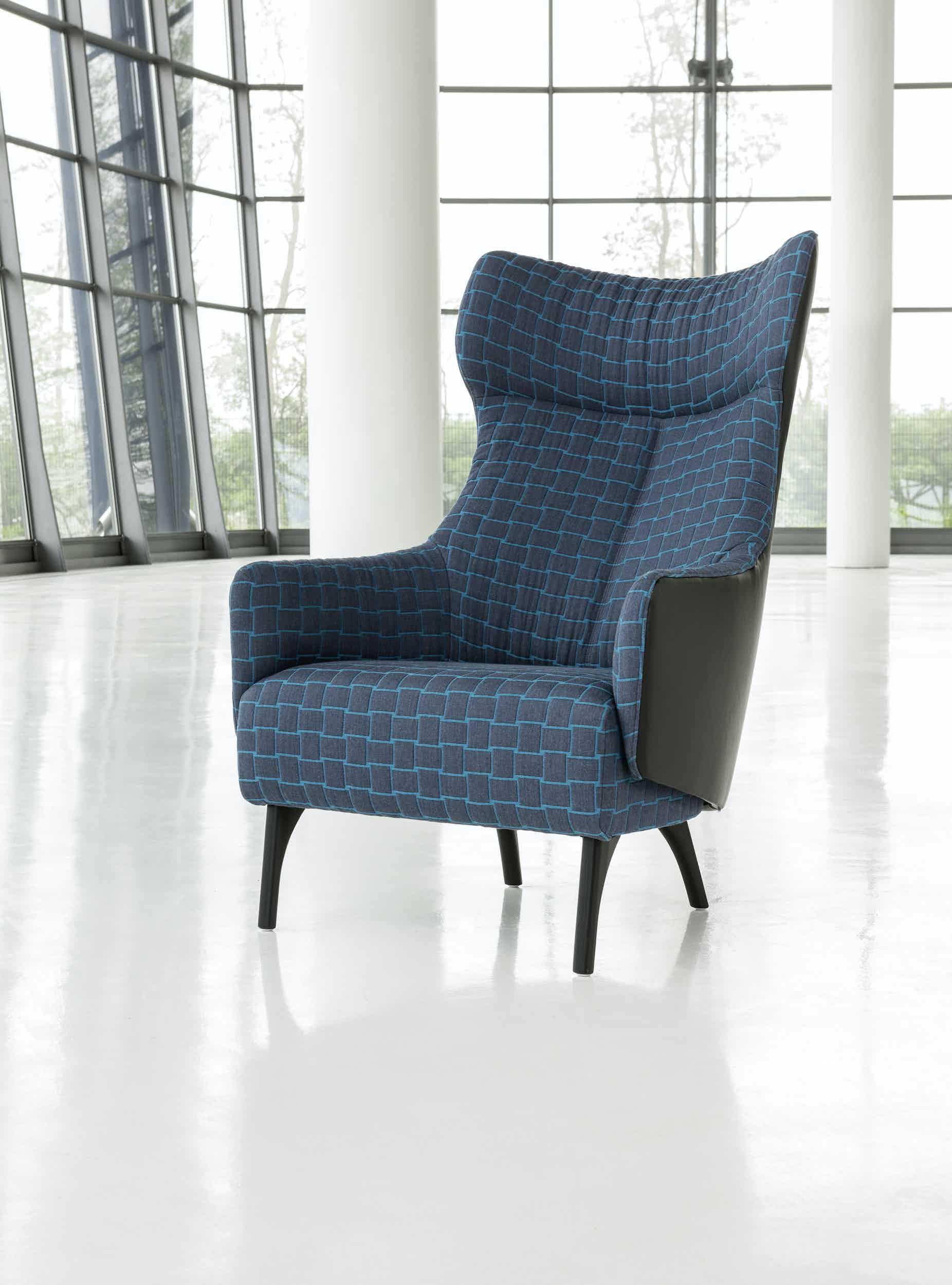 Jab Anstoetz Blue Flow Armchair Front High Back Haute Living