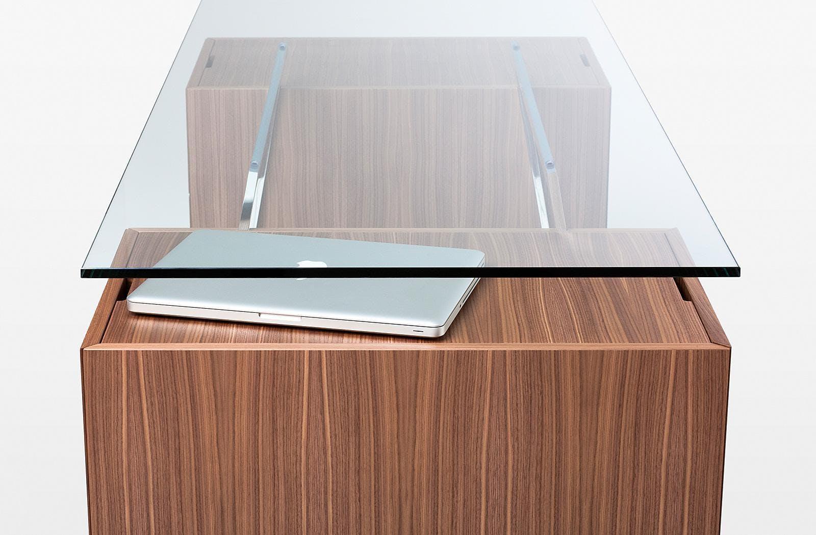Bensen Glass Top Homework Desk Detail Side