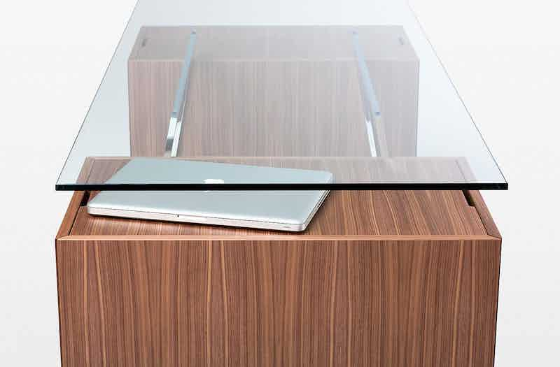 Bensen Glass Top Homework Desk Detail Side