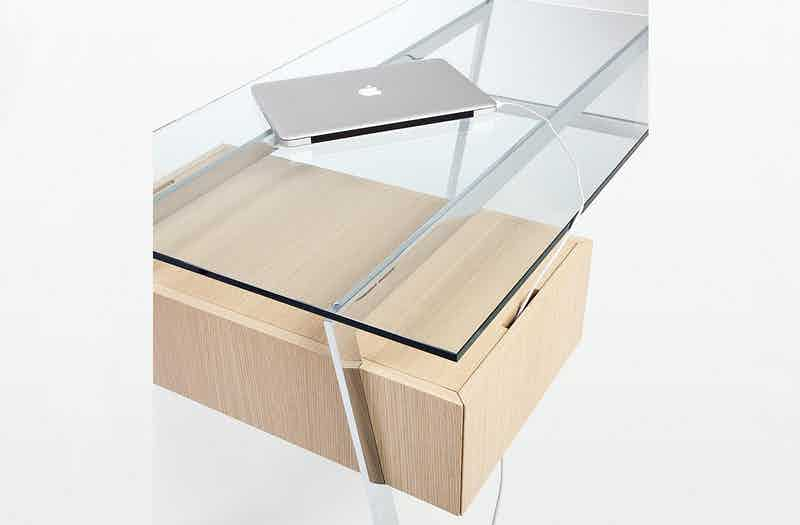 Bensen Glass Top Light Wood Homework Desk Detail
