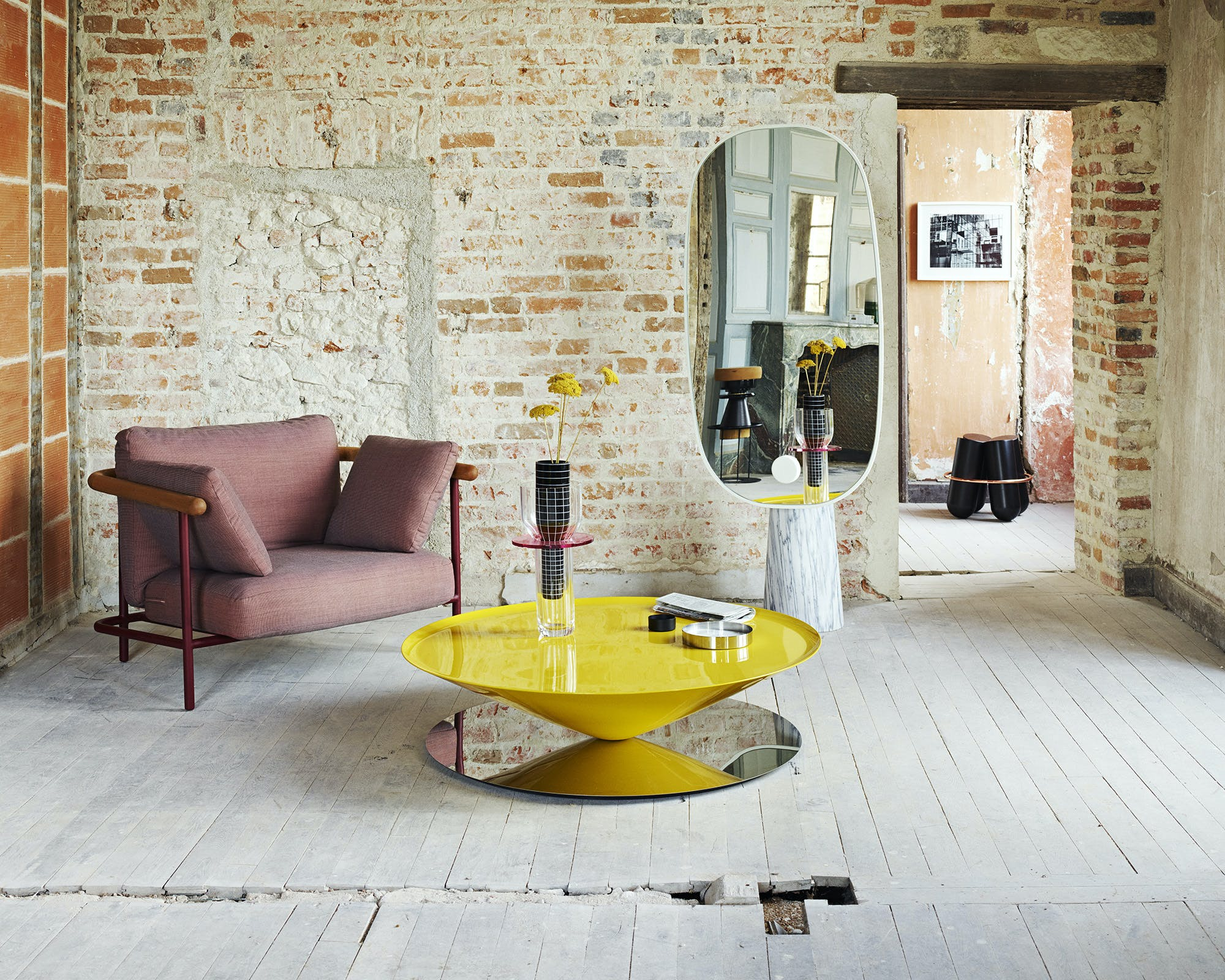 La Chance Insitu White Marble Iconic Mirror Haute Living