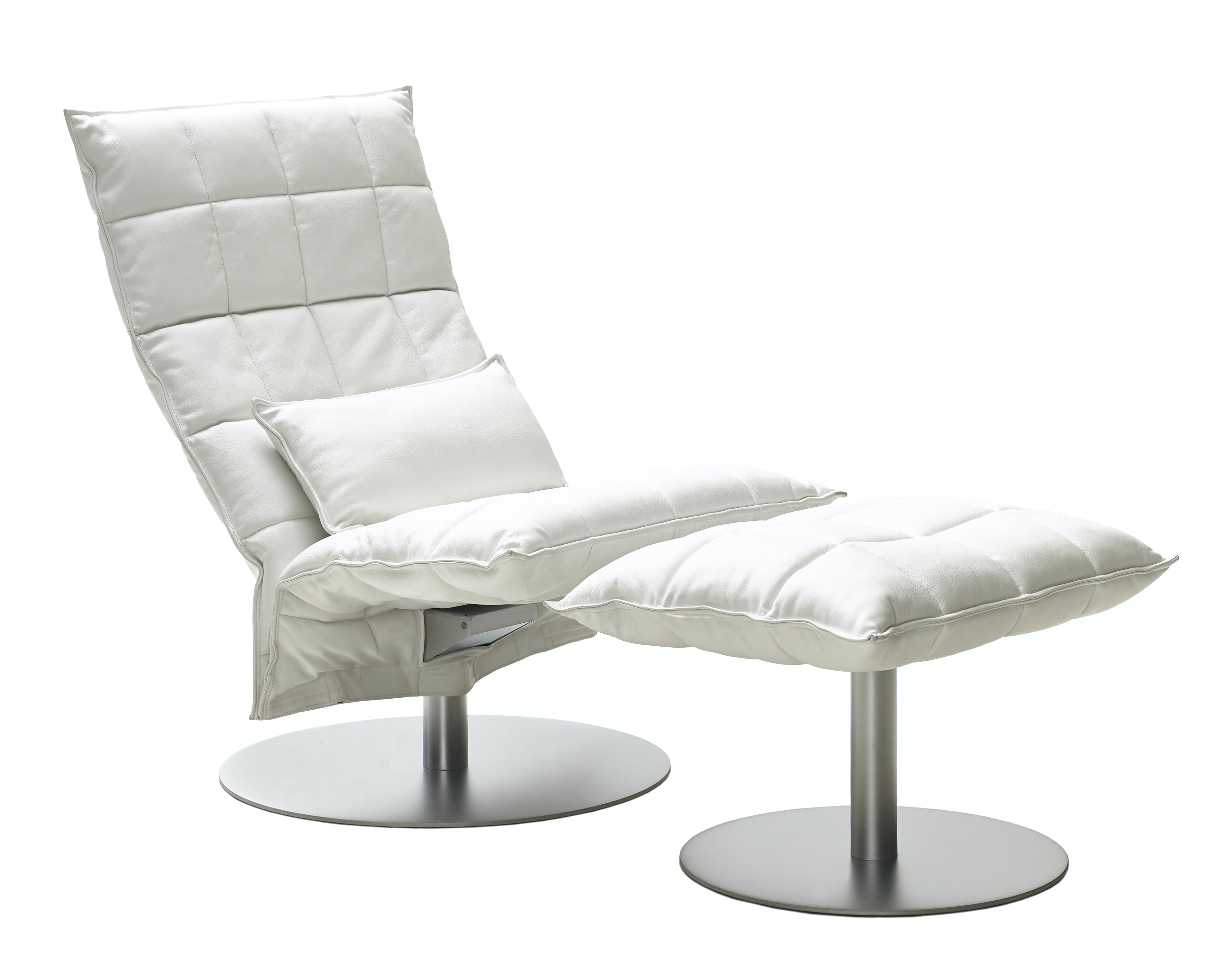 46007 Narrow Swivel K Chair With 46017 Narrow K Ottoman With Plate And 4605 K Cushion White Leather Upholstery