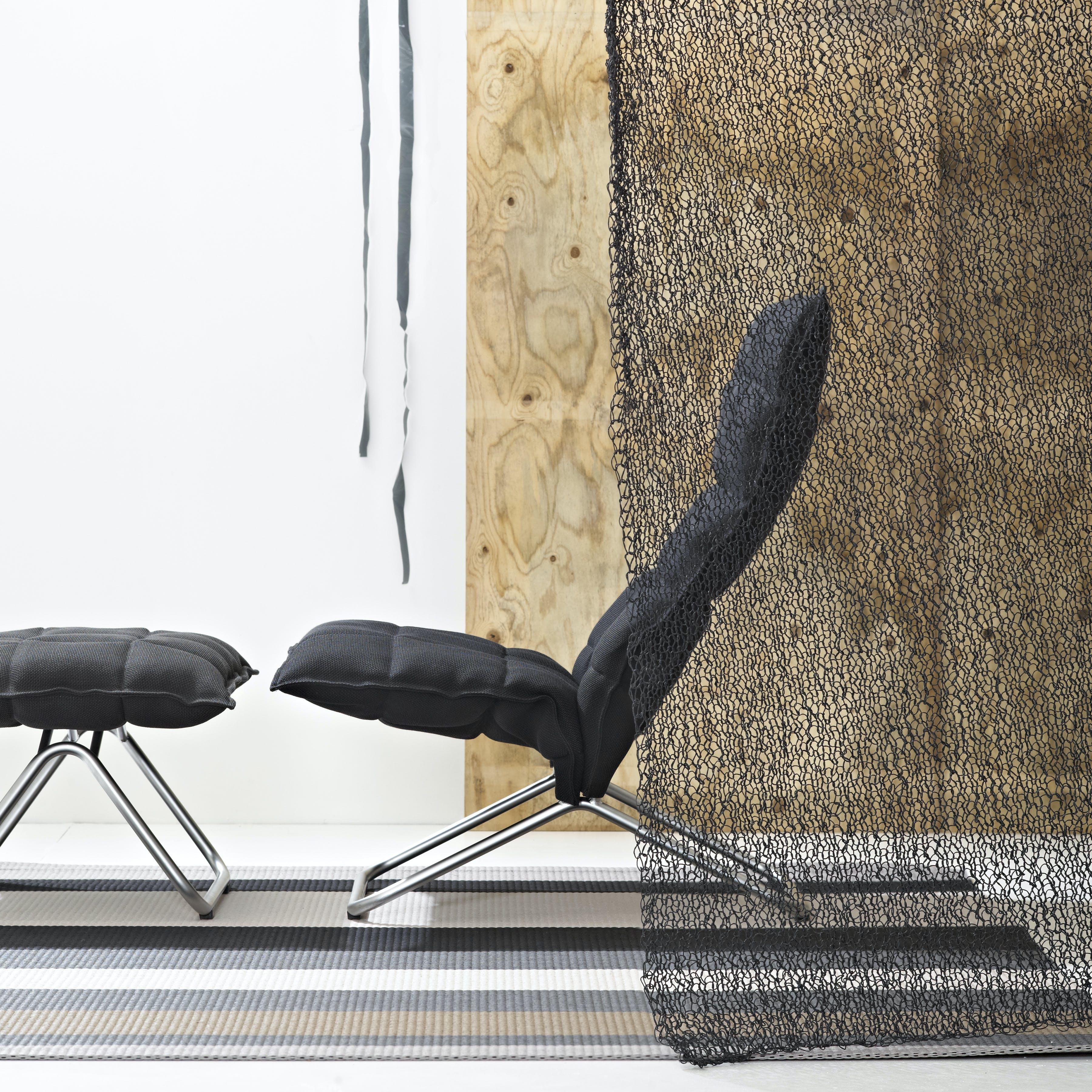 46003 Narrow K Chair And 46013 Narrow K Ottoman With Black Tubular Feet Interior
