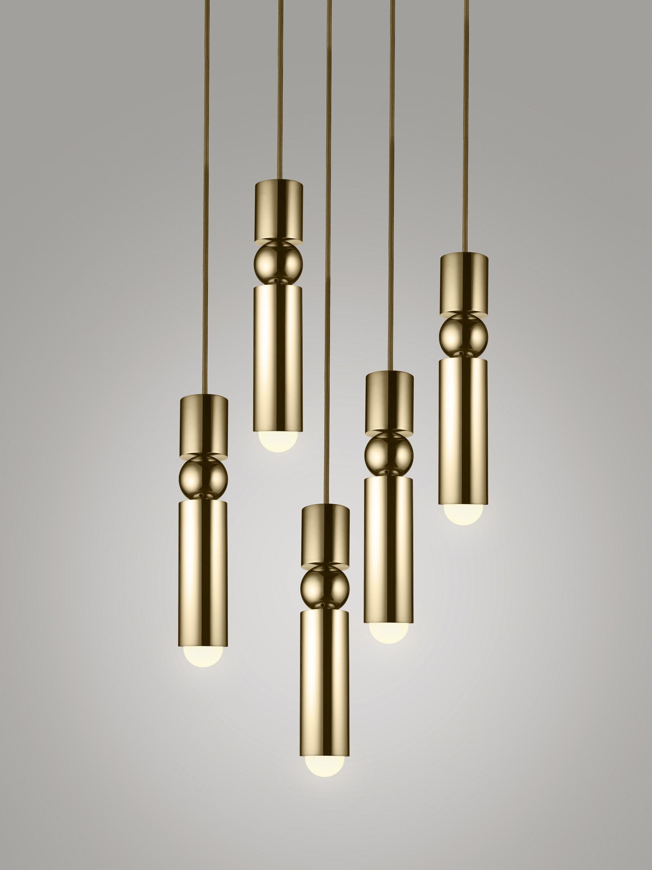 Fulcrum Light Chandelier Brass White Background 01