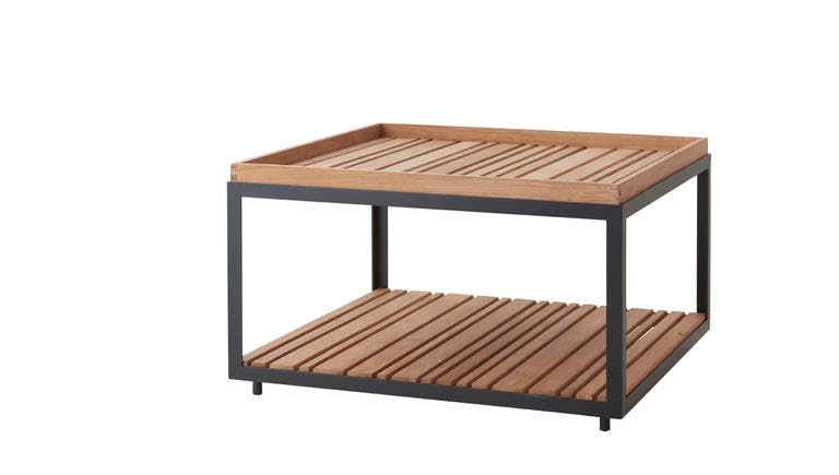 Level Coffee Table Large Teak Lava Grey