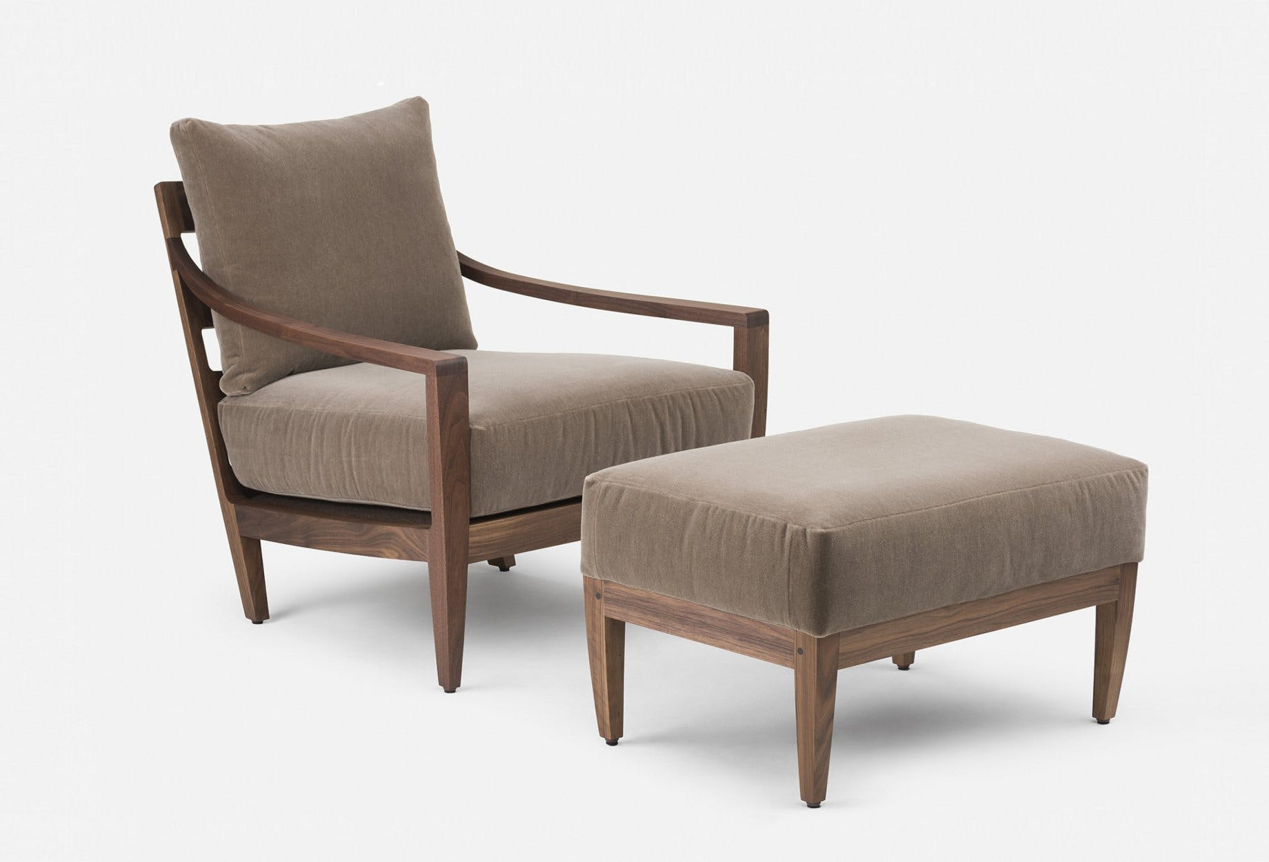 340 Low Lounge Chair And 340 O Low Ottoman By Matthew Hilton In Walnut And Velvetweb 1840X1250