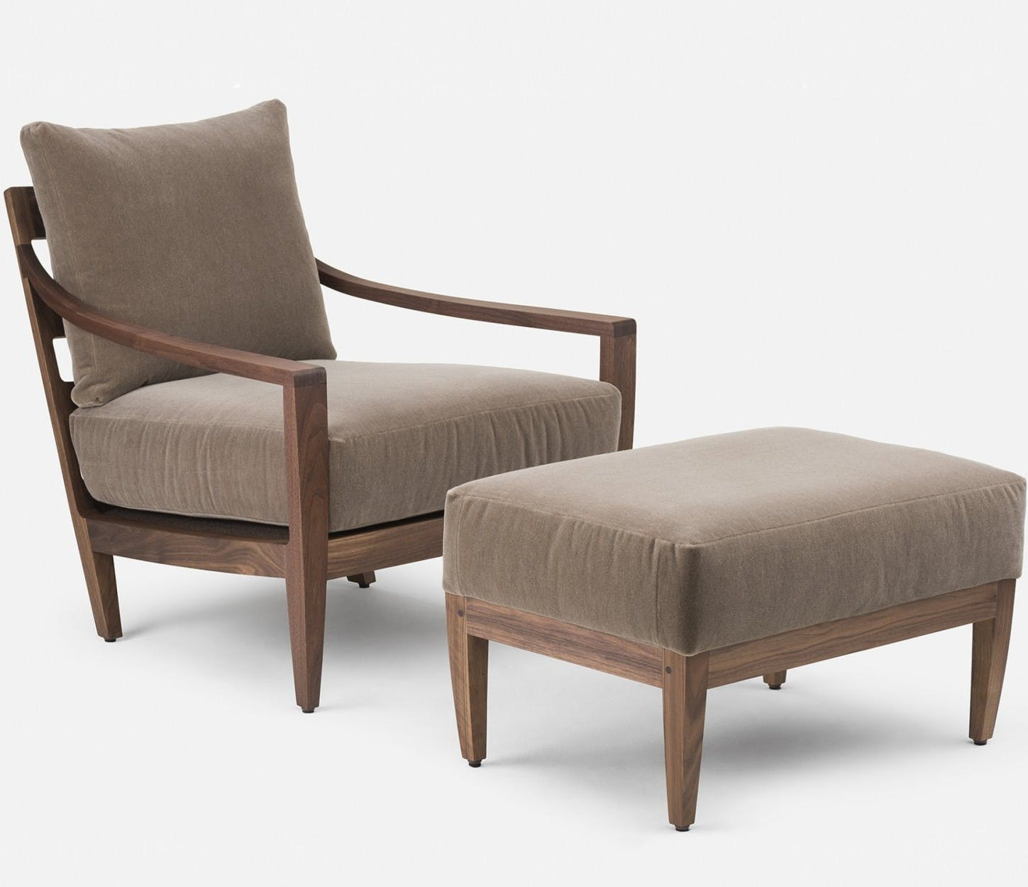 340 Low Lounge Chair And 340O Low Ottoman By Matthew Hilton In Walnut And Velvetweb 1840X1250