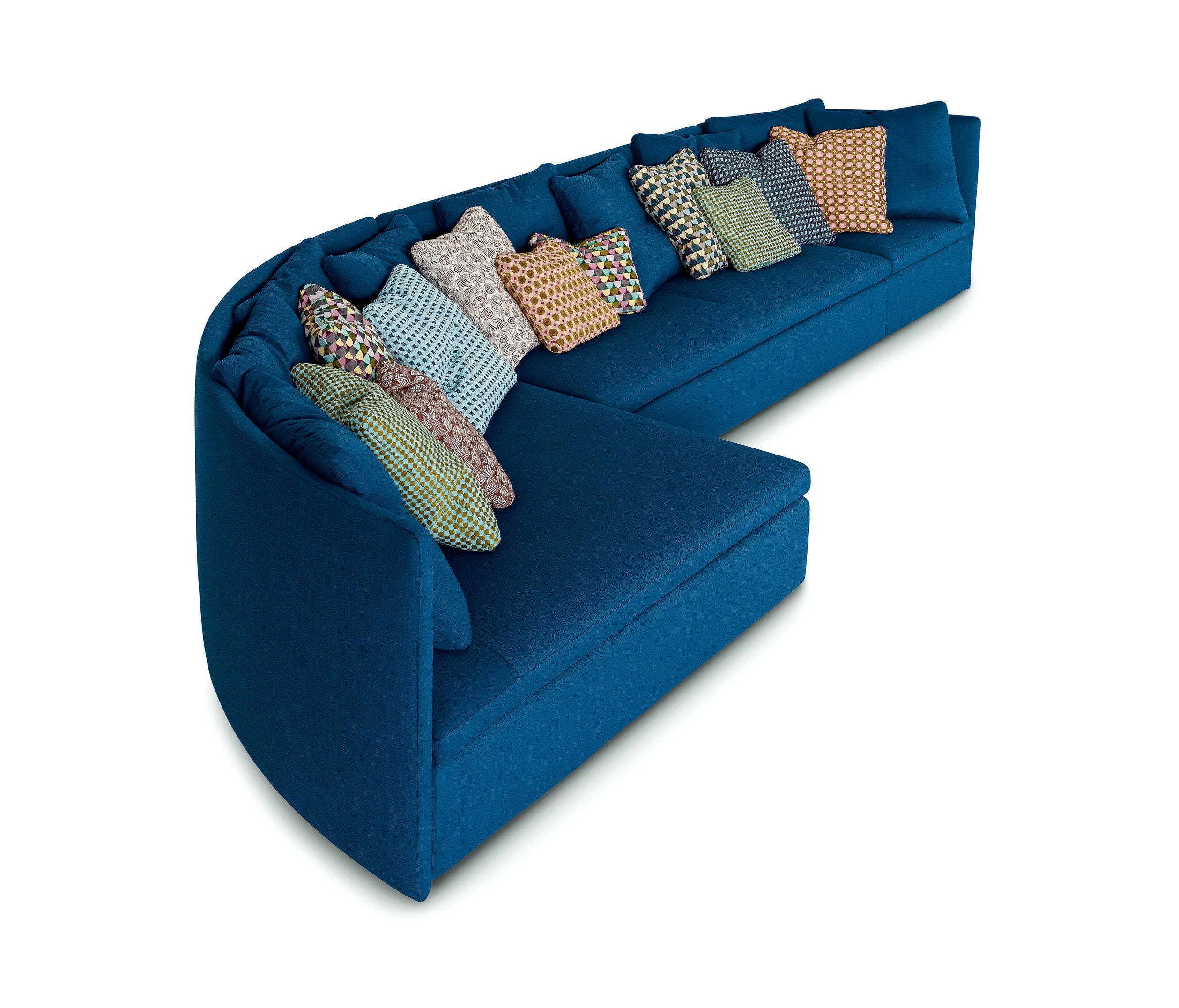 Arflex Blue Mangold Curved Sofa Side