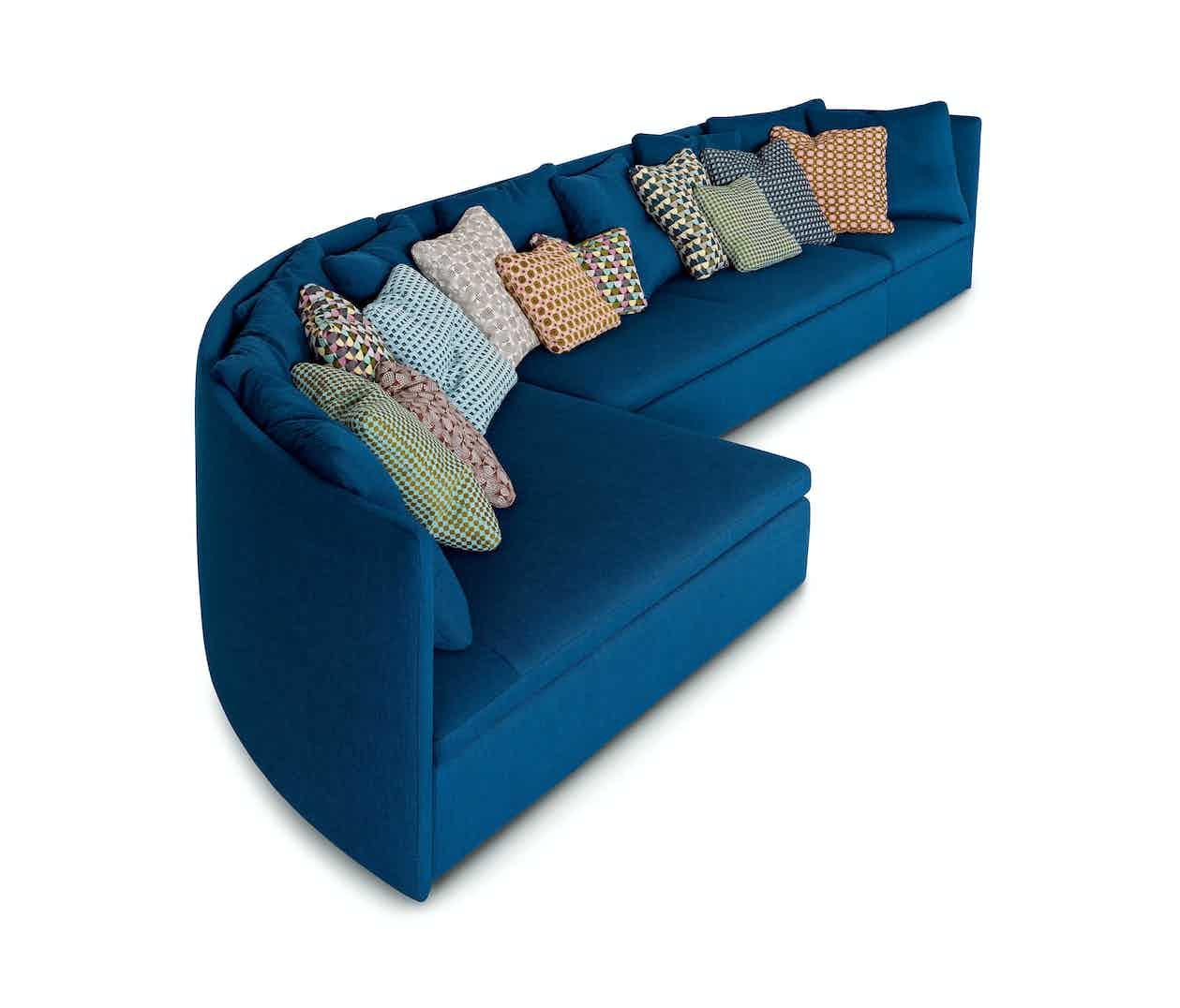 Arflex Blue Mangold Curved Sofa Side