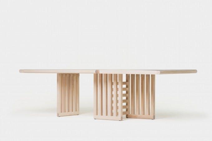 De La Espada Autoban Maze Table White Oak Front Haute Living