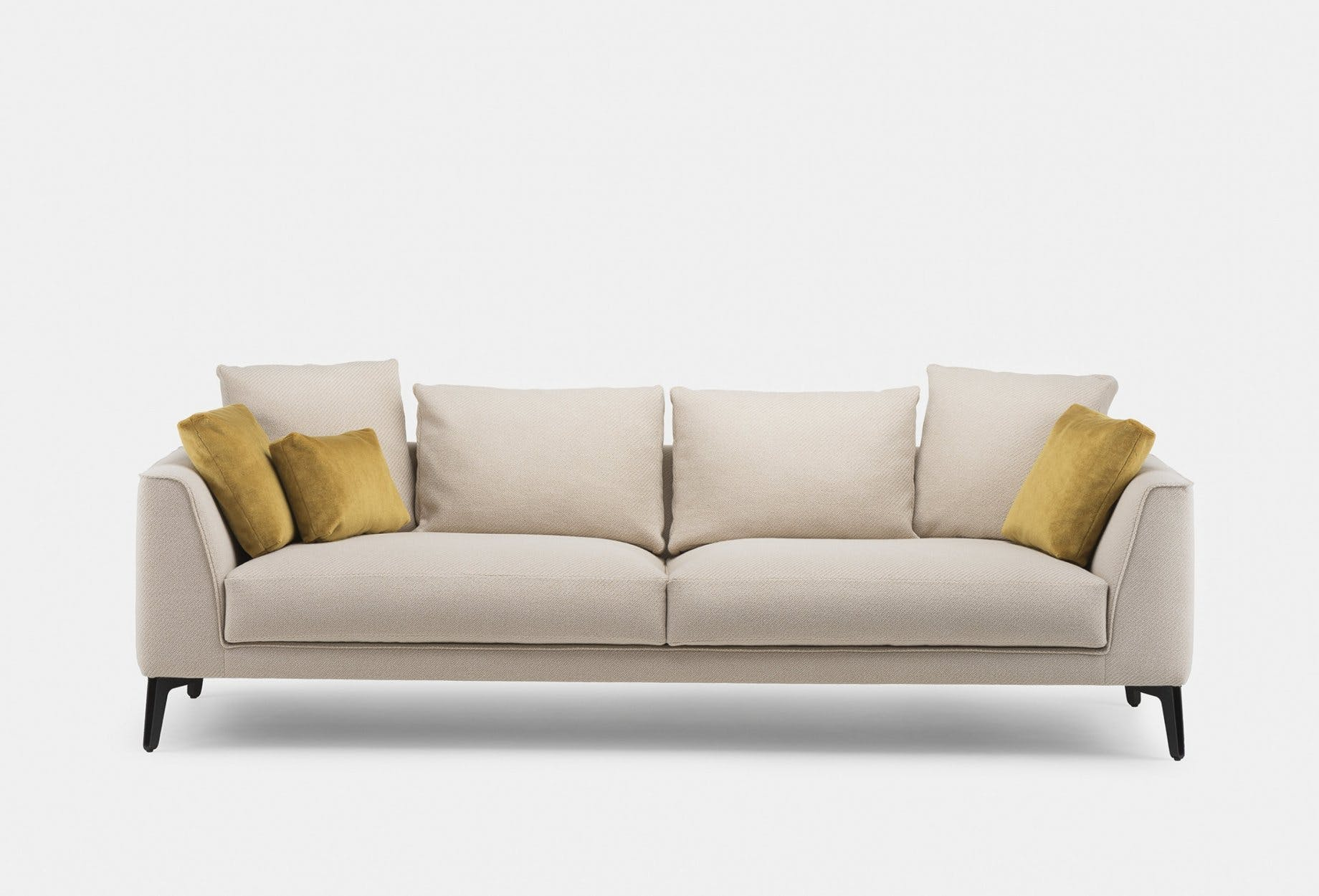 401 Mc Queen Sofa By Matthew Hilton In Coda 2 422 Fabric With Scatter Cushions In Pillar 461 Front3Web 1840X1250