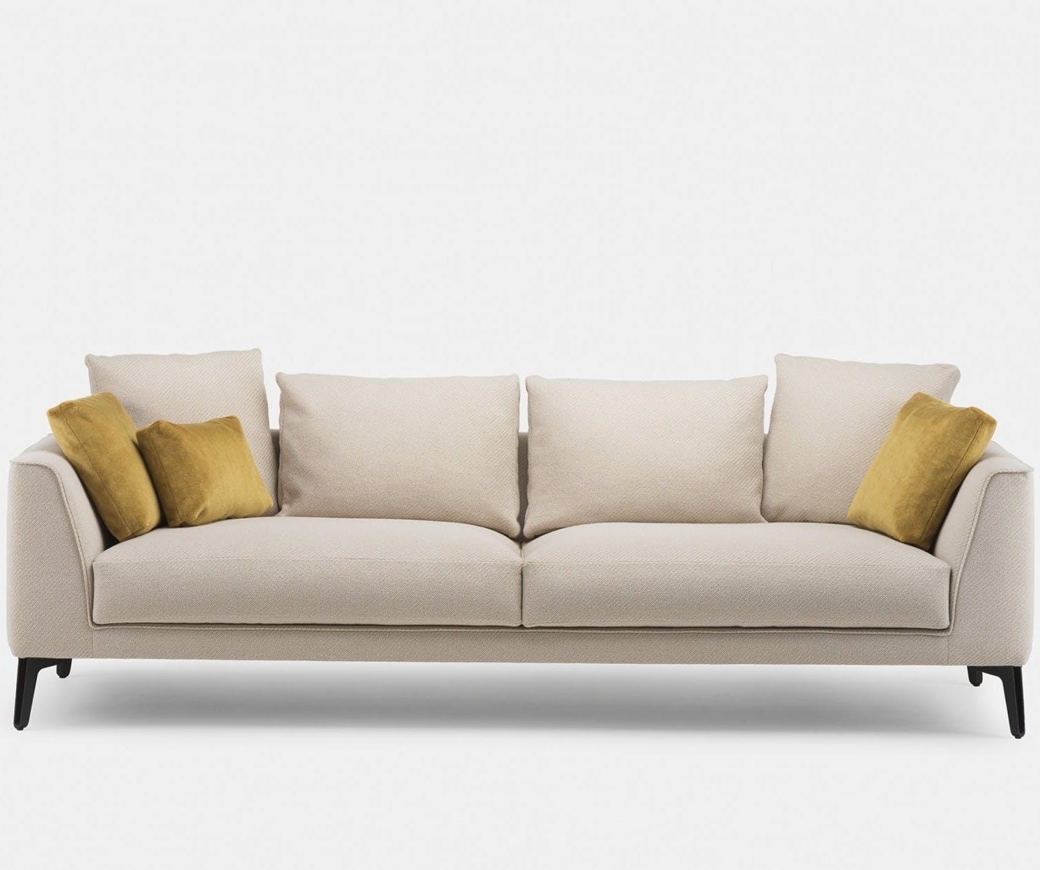 401 Mcqueen Sofa By Matthew Hilton In Coda 2 422 Fabric With Scatter Cushions In Pillar 461  Front3Web 1840X1250