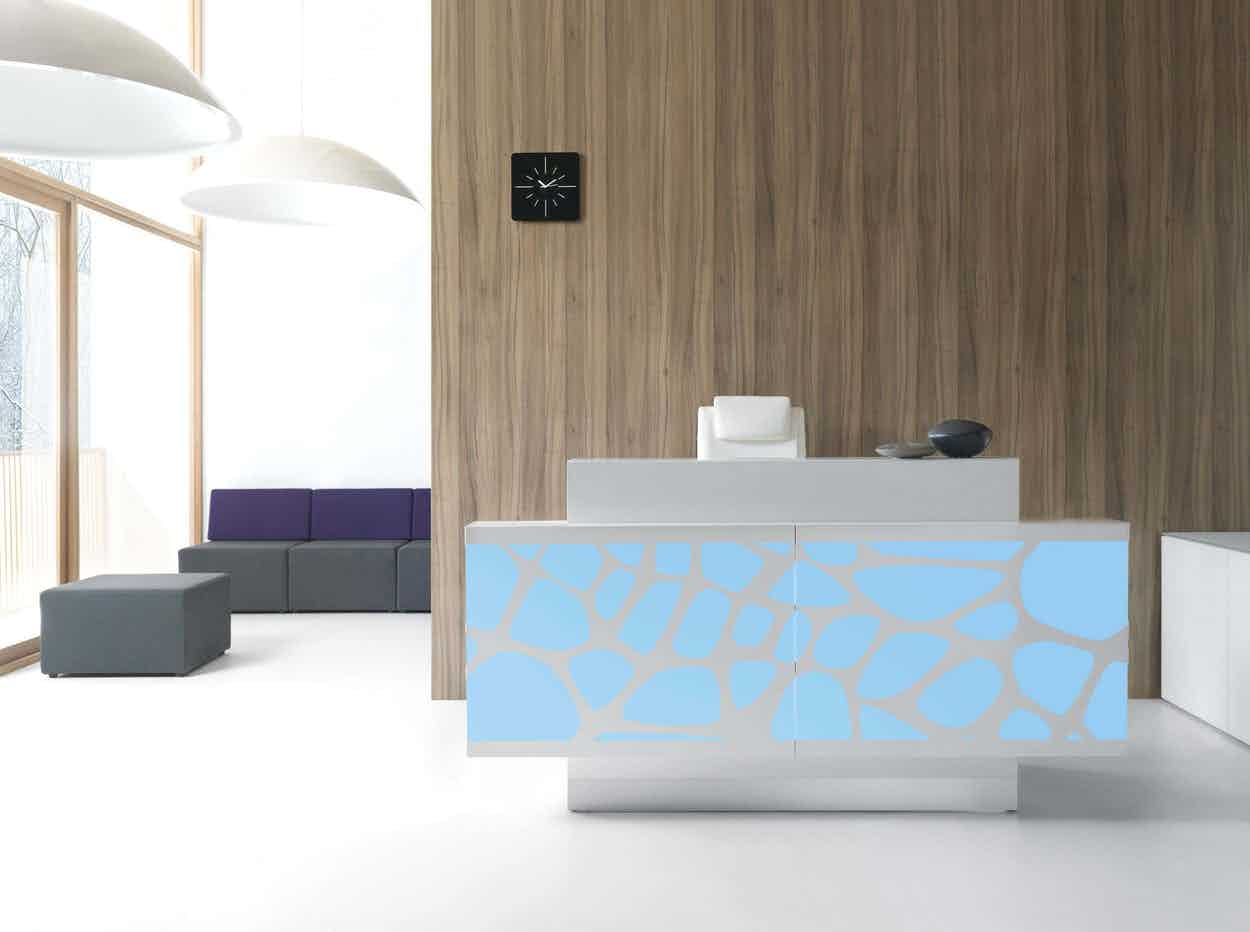 Mdd furniture organic reception desk blue front haute living