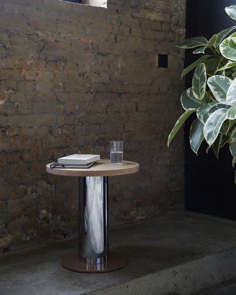 AndTradition Chrome Base Mezcla Side Table Insitu Haute Living