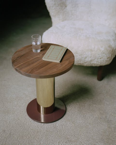AndTradition Mezcla Side Table Walnut Top Insitu Haute Living