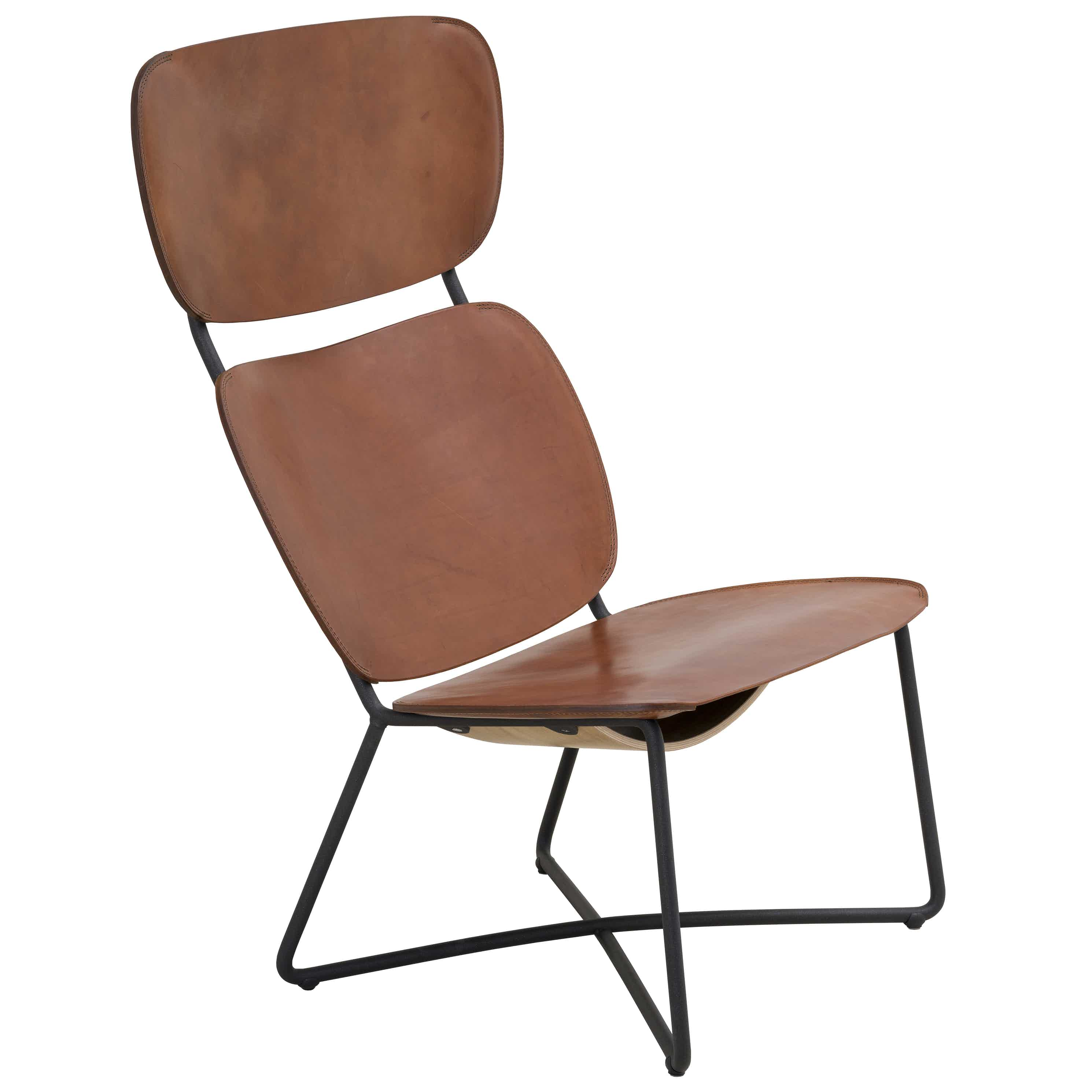 Functionals Miller High Back Cognac Brown Leather Lounge Chair Haute Living Thumb