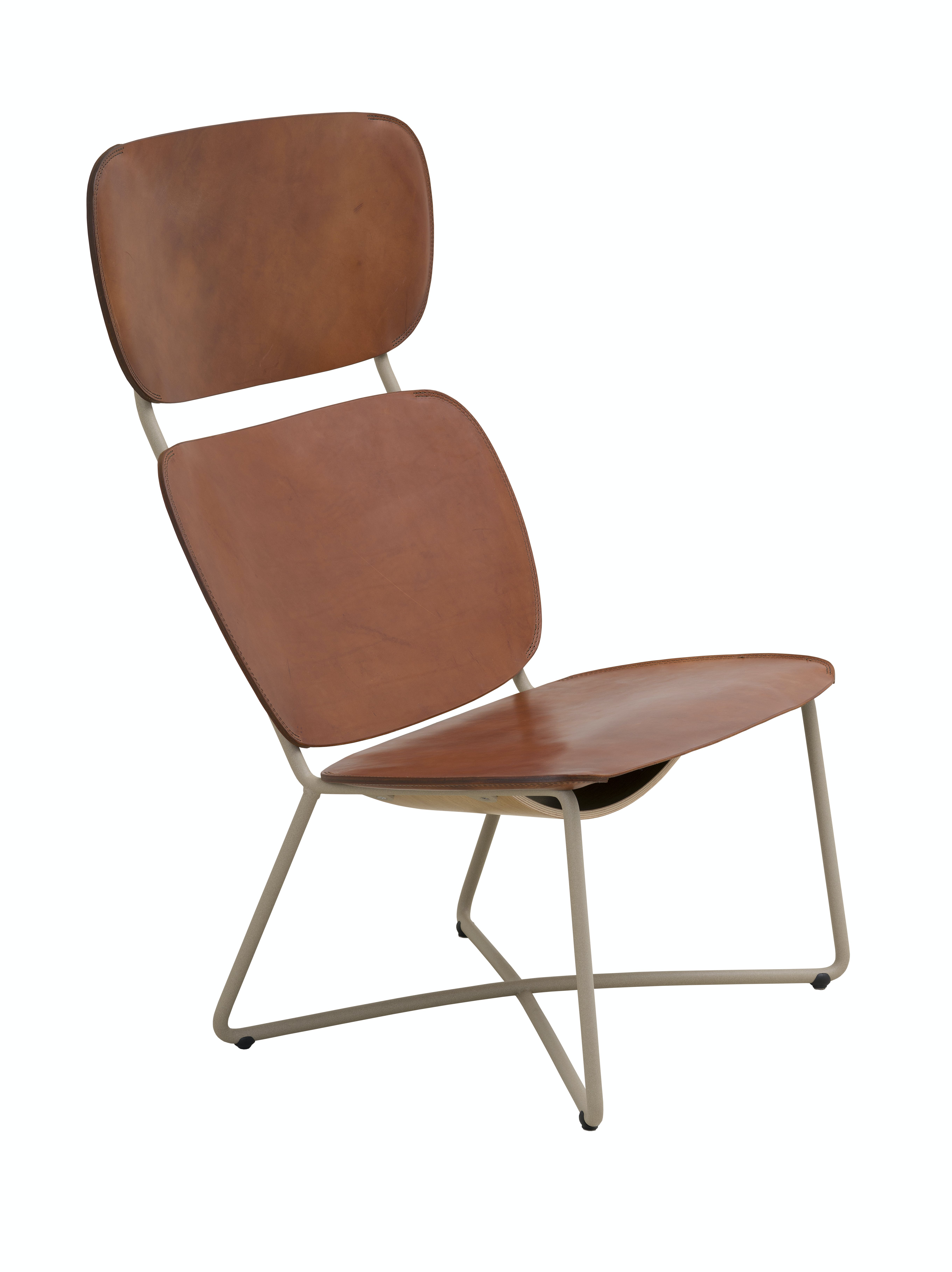 Functionals Miller High Back Cognac Leather Lounge Chair Sand Frame Haute Living