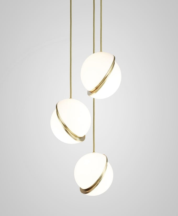 Croppedimage680825 Mini Crescent Chandelier 3 Piece Brushed Brass Pendants And Brushed Brass Ceiling Plate Studio