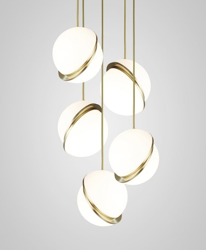 Croppedimage680825 Mini Crescent Chandelier 5 Piece Brushed Brass Pendants And Brushed Brass Ceiling Plate Studio2