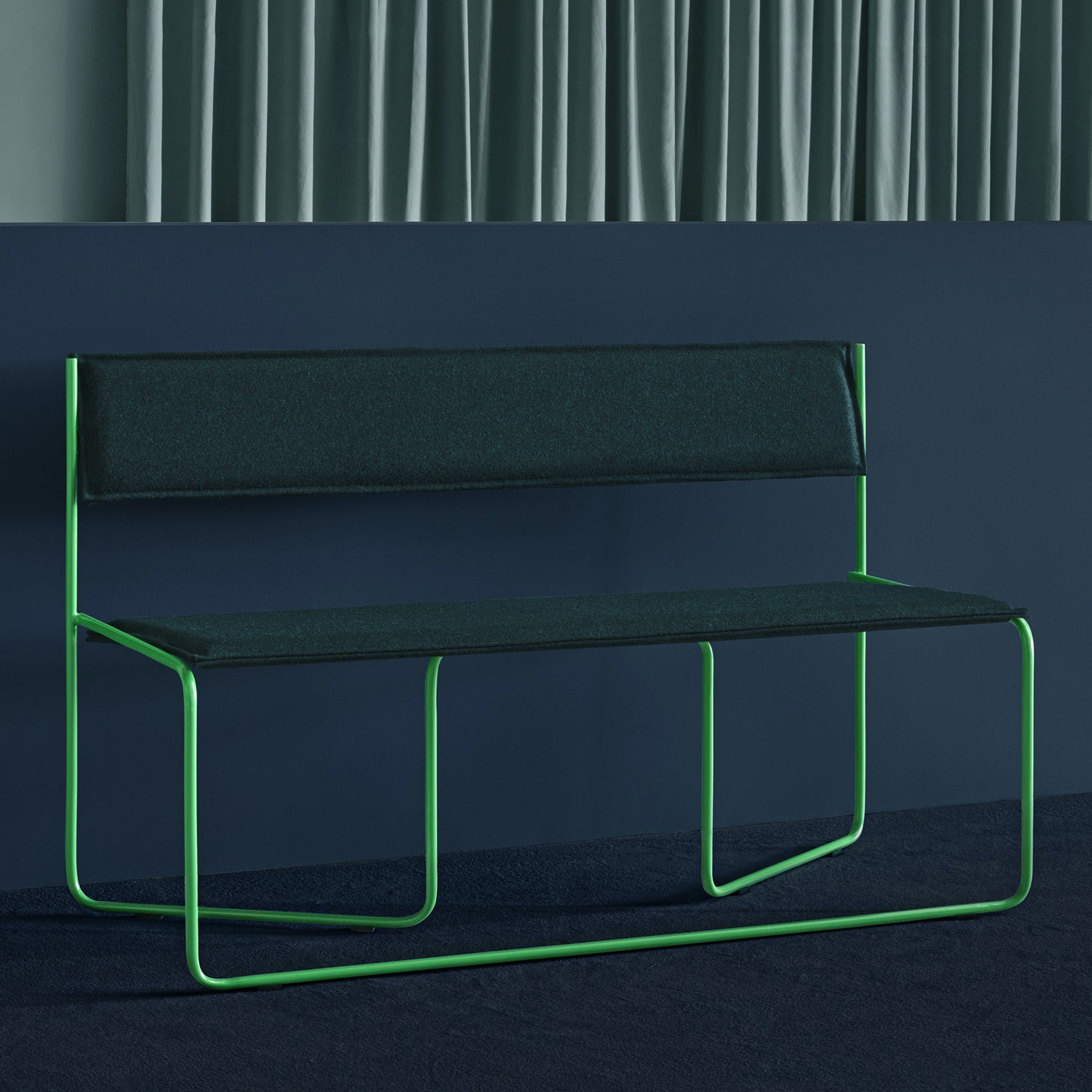 Missana Navy Green Trampolin Bench Insitu Haute Living
