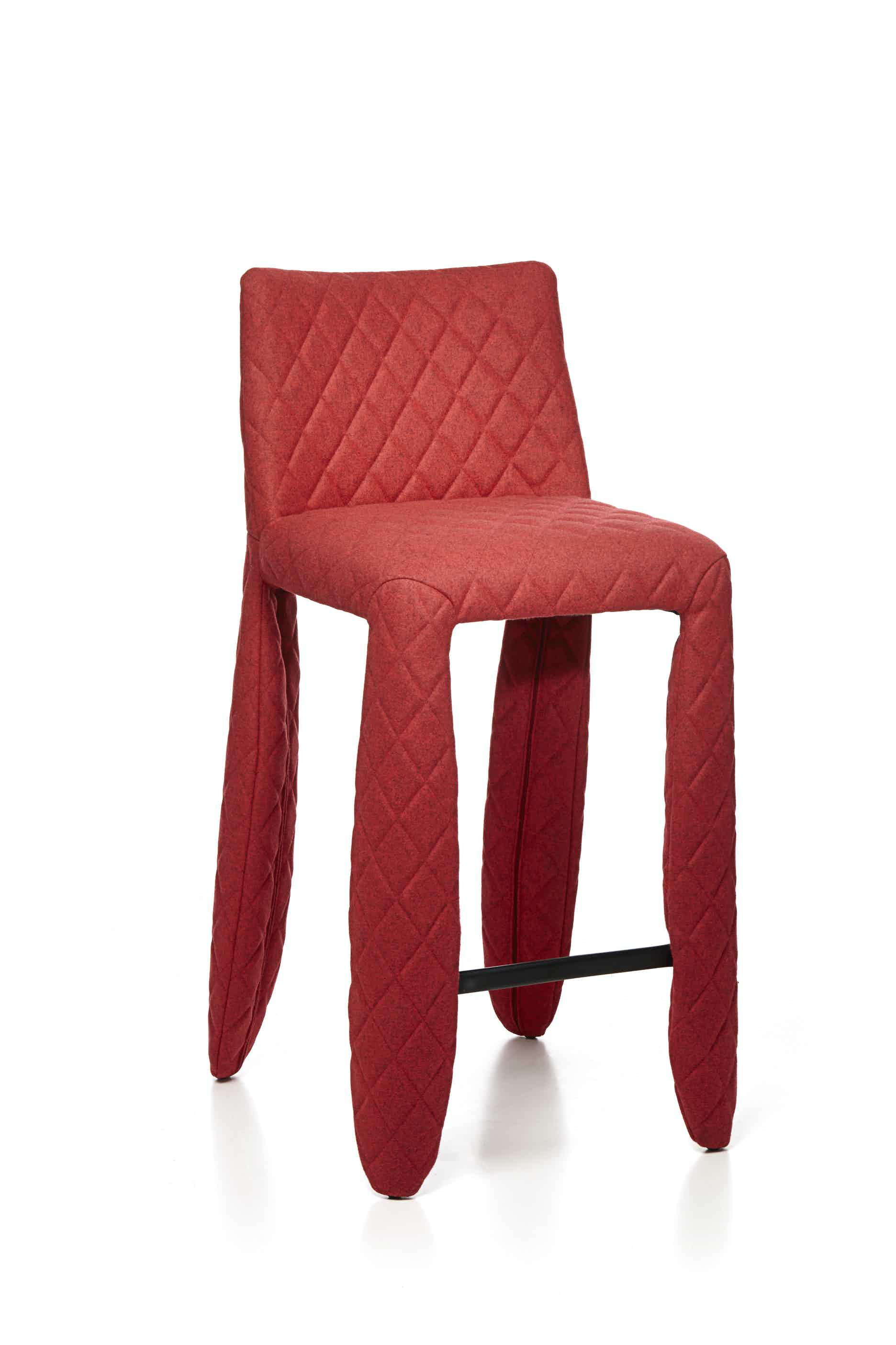 Moooi monster bar stool divina melange red haute living