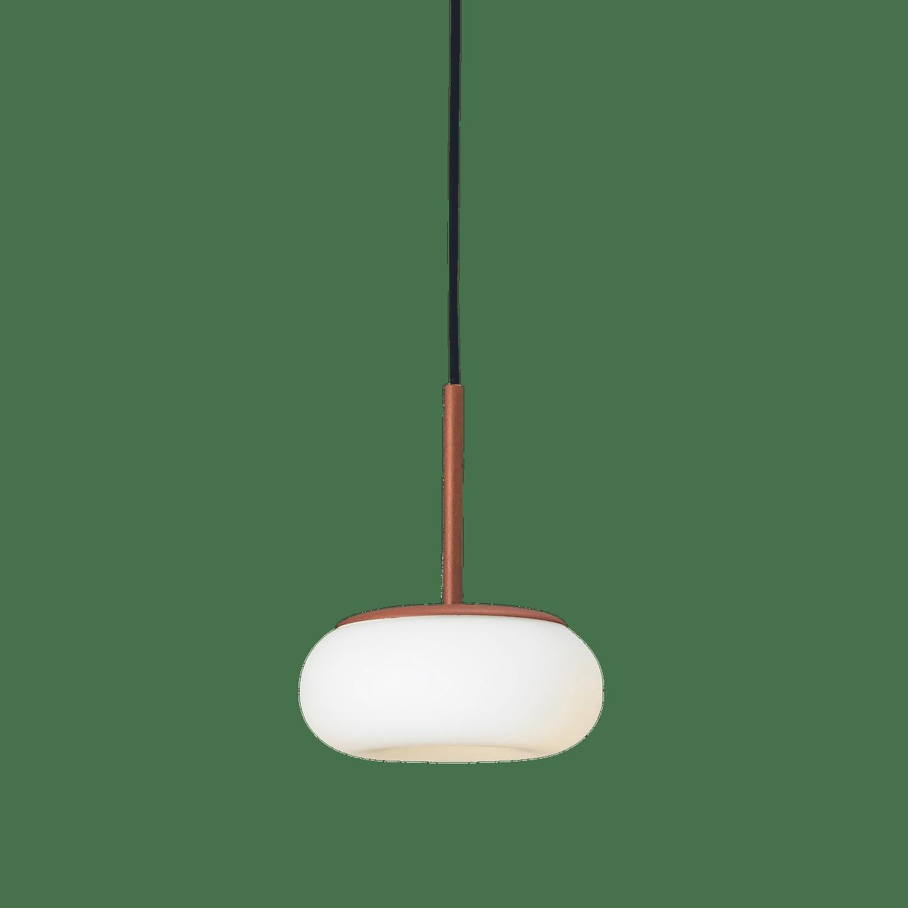 Ago lighting small mozzi pendant terracotta lit haute living