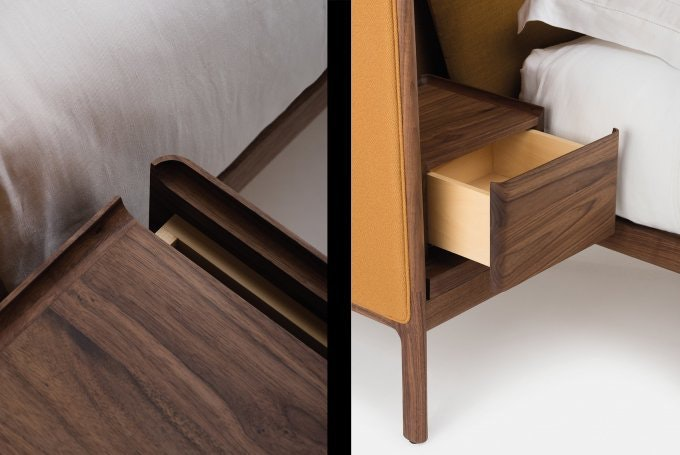 Low Dubois Bed By Nichetto In Walnut And Vidar And Canvas Fabrics Detailcombo5Web 680X455