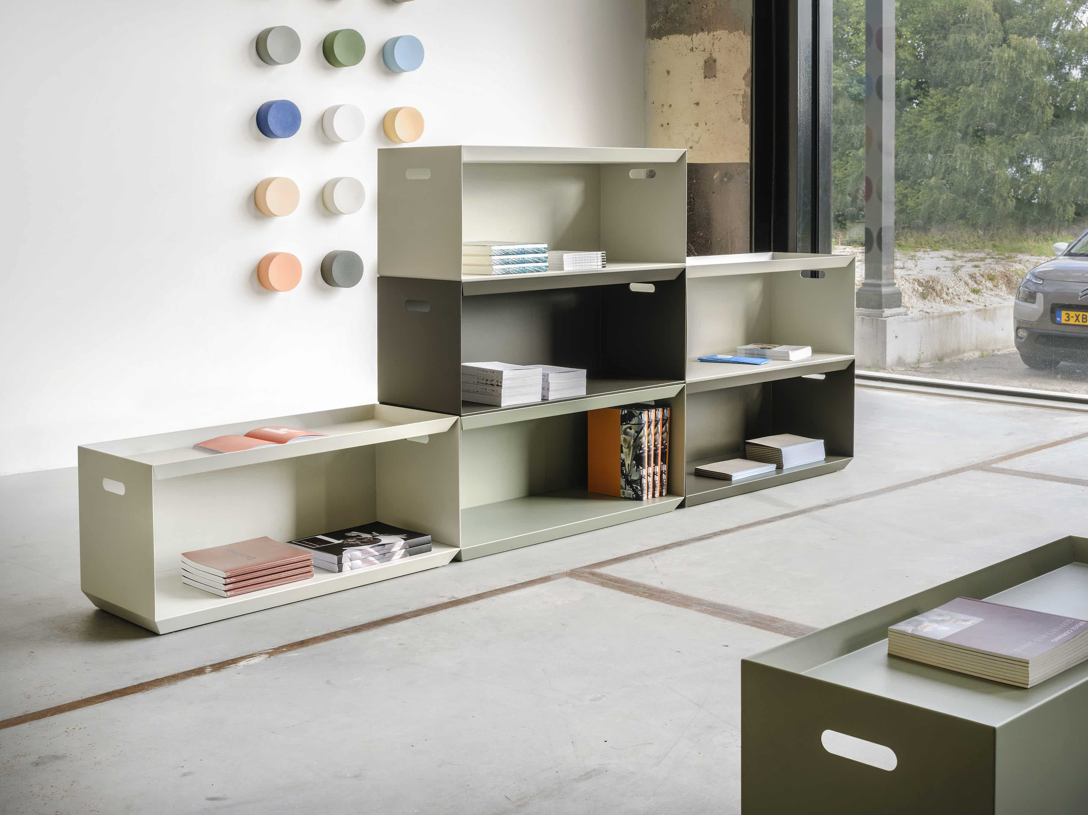 Functionals Ossa White Grey Shelving Stacked Insitu