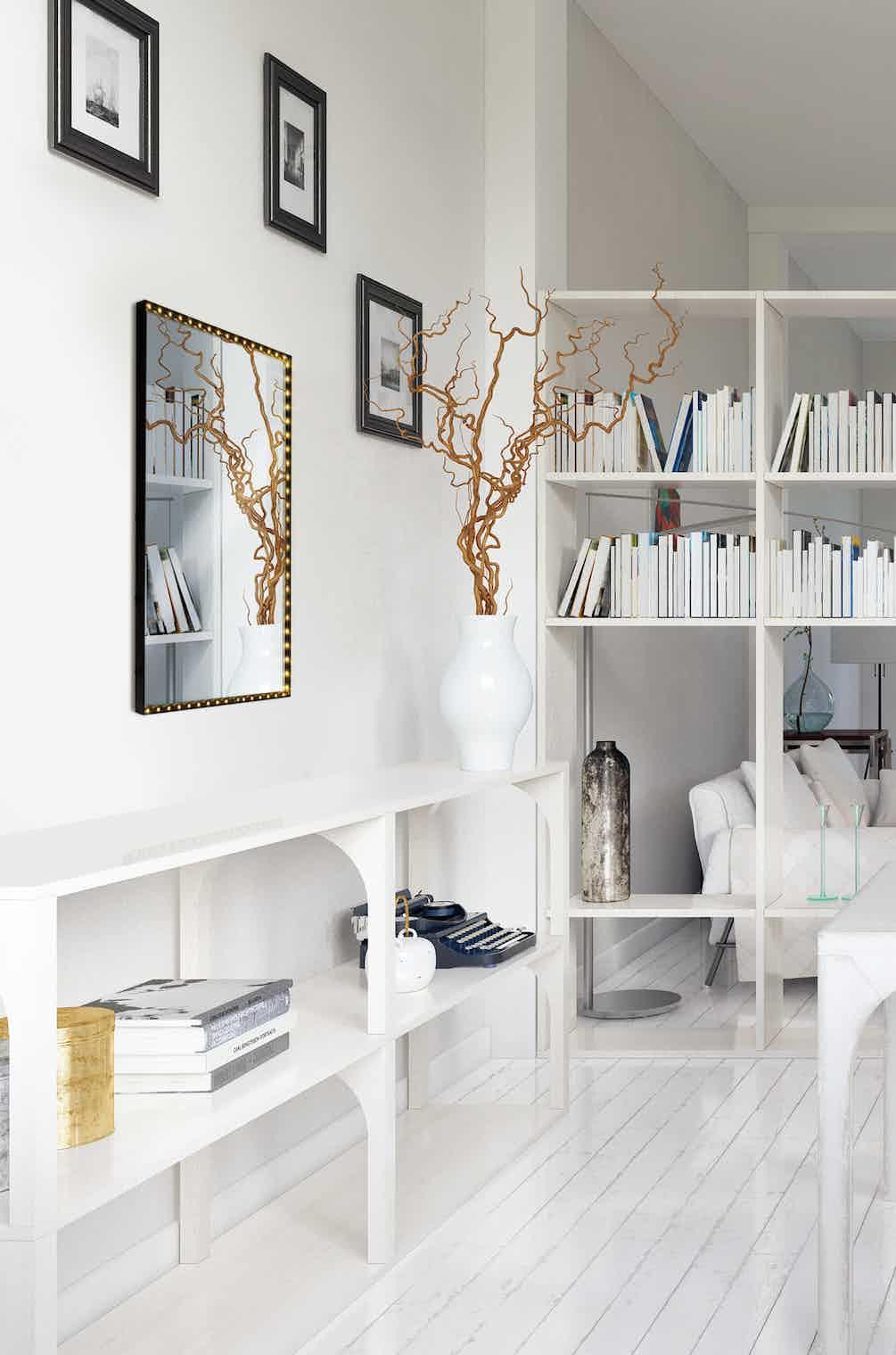 Le-deun-luminaires-vanity-square-wall-mirror-white-room-haute-living