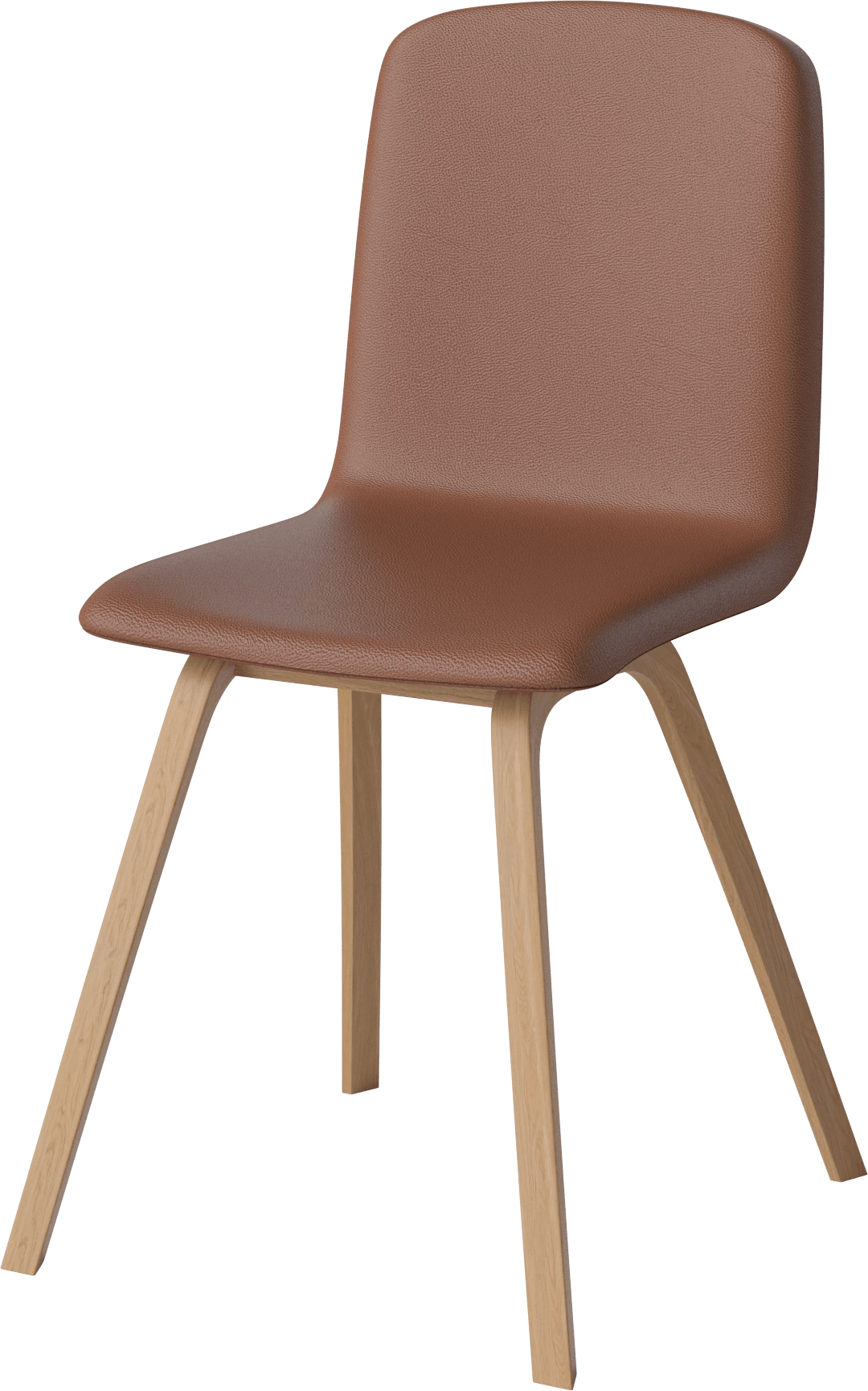 bolia rust leather palm dining chair angle haute living