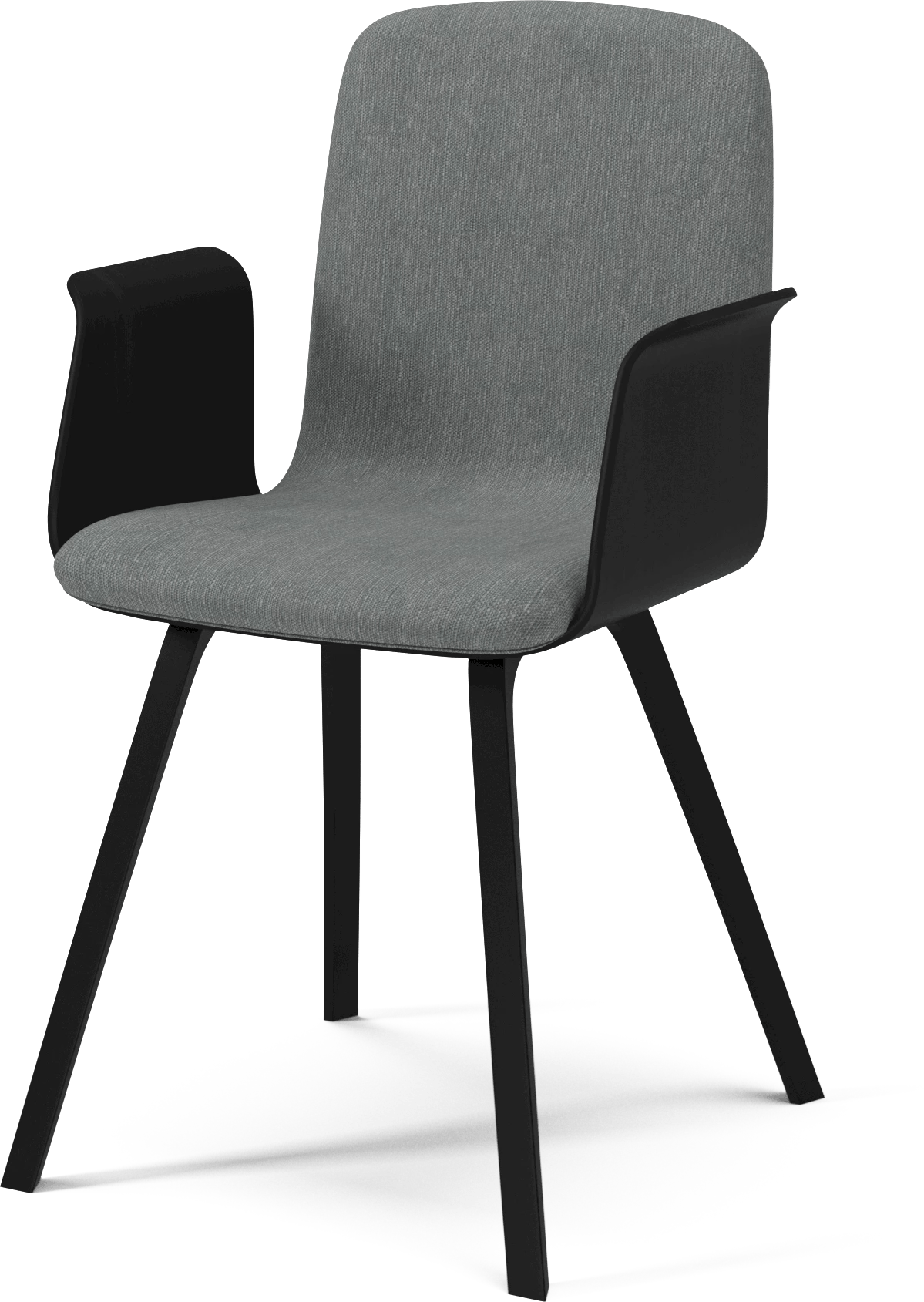 bolia grey palm dining chair with arms angle haute living
