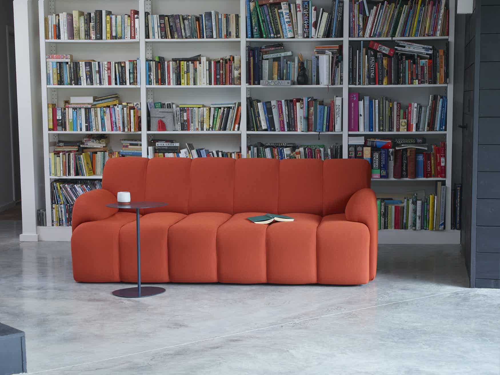 Scp furniture pillar sofa red insitu haute living