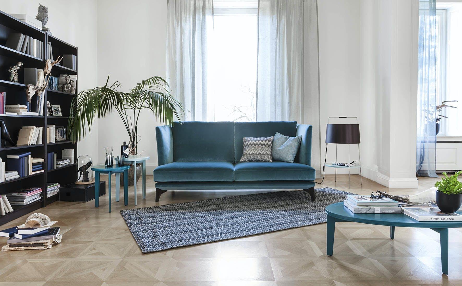 Jab Anstoetz Blue Velvet Polo Lounge Sofa Insitu Haute Living