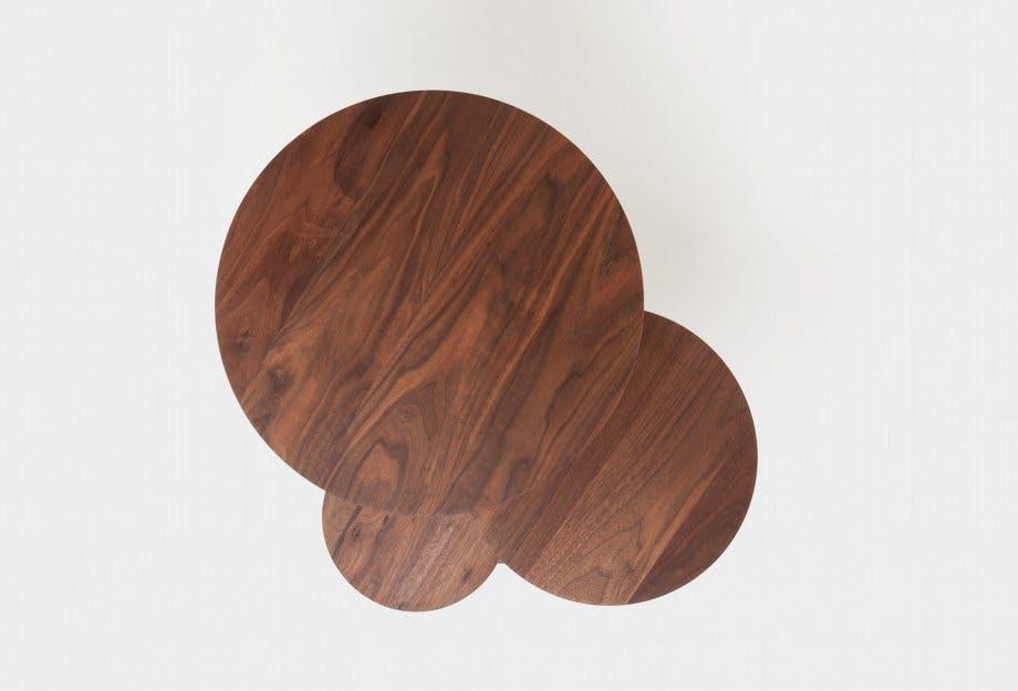 De La Espada Autoban Poly Side Table Walnut Top Haute Living