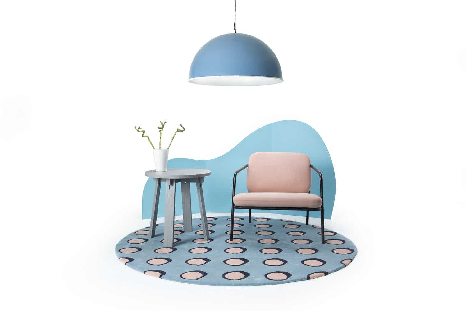Deadgood-pop-rug-dotty-working-girl-chair-table-haute-living
