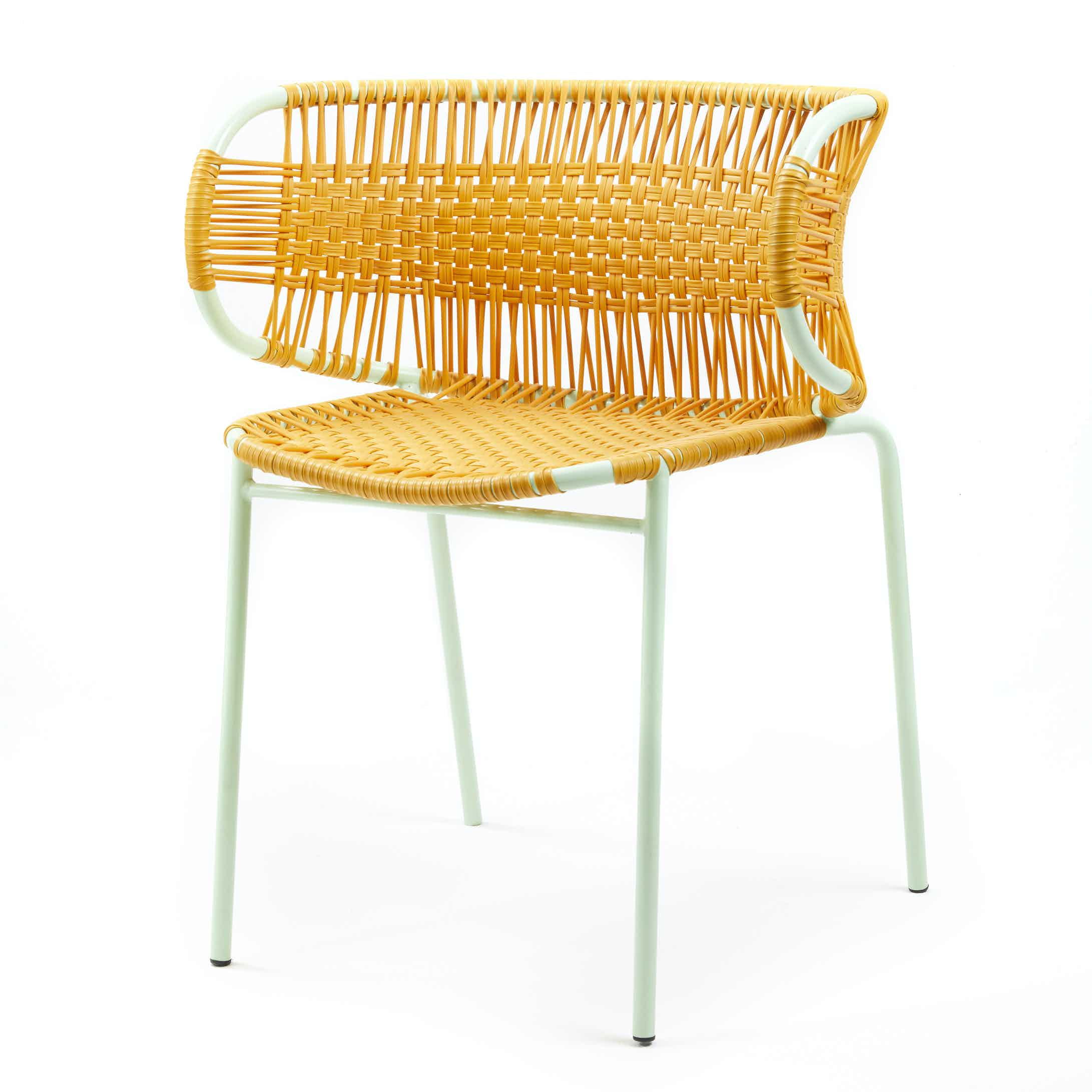 Ames furniture design cielo stacking chair with armrests yellow haute living 200720 185209