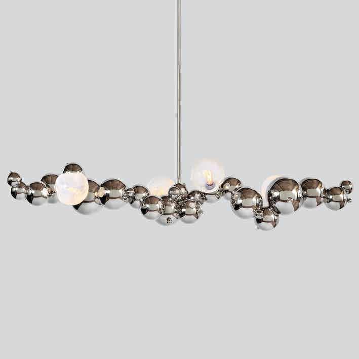 Rosie li bubbly 04 light linear chandelier chrome thumb haute living