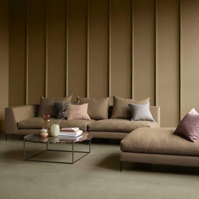 Wendelbo peak sofa orange insitu haute living