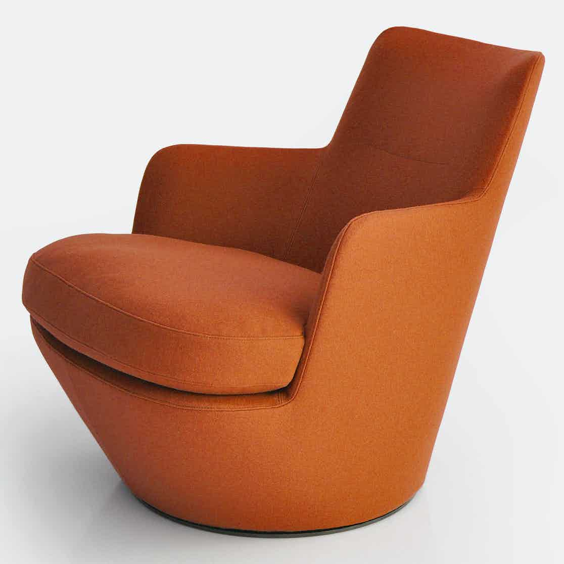 Bensen furniture lo turn chair orange haute living