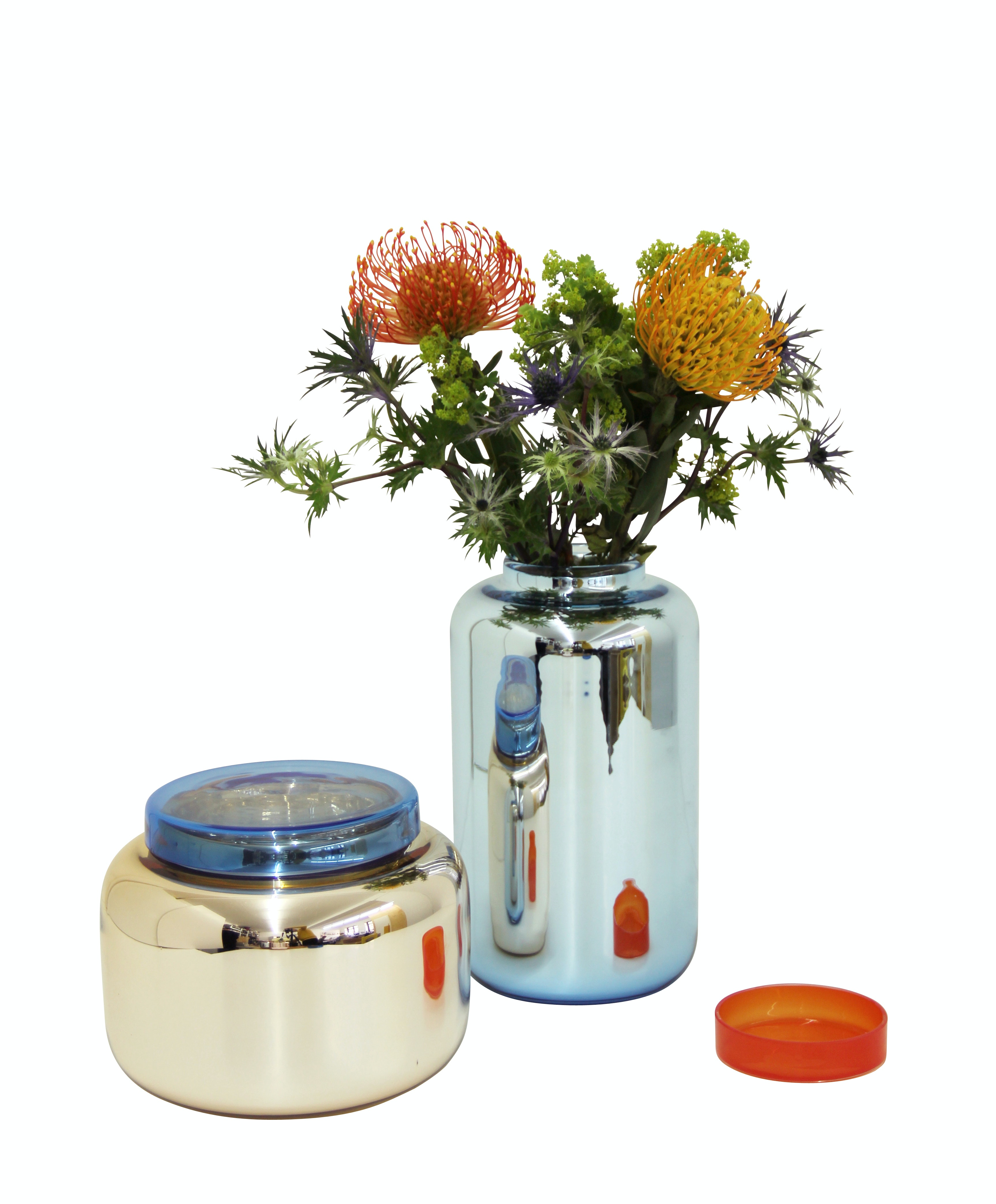 High Container Blue Low Container Orange