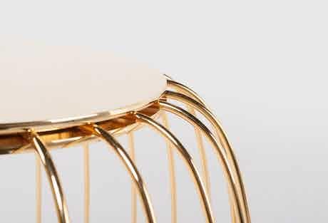 De La Espada Autoban Pumpkin Stool Gold Detail Haute Living